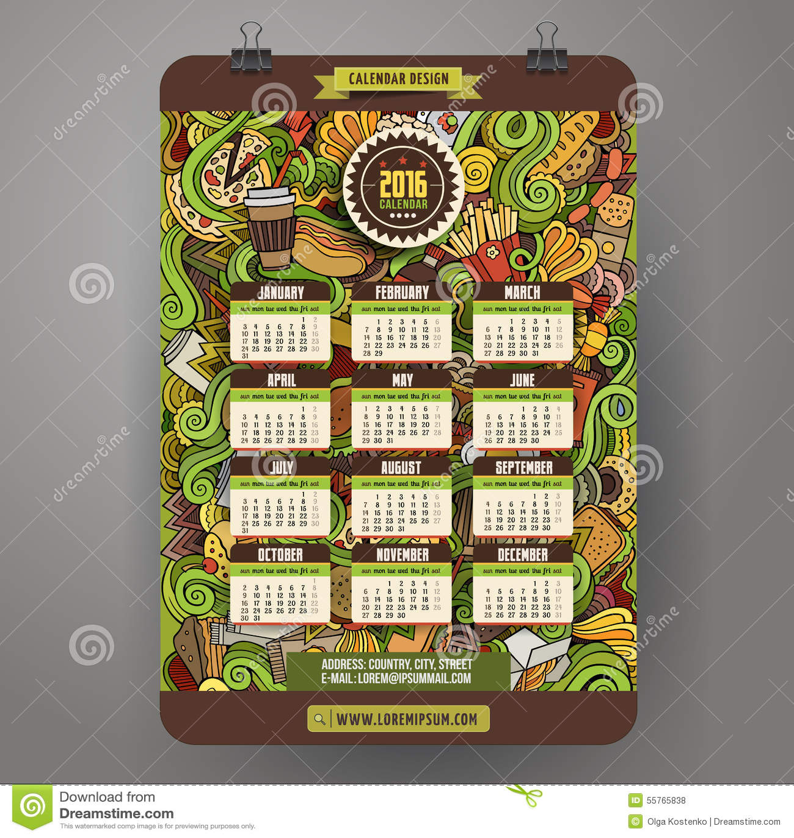 Doodles Cartoon Fast Food Calendar 2016 Year Stock Vector
