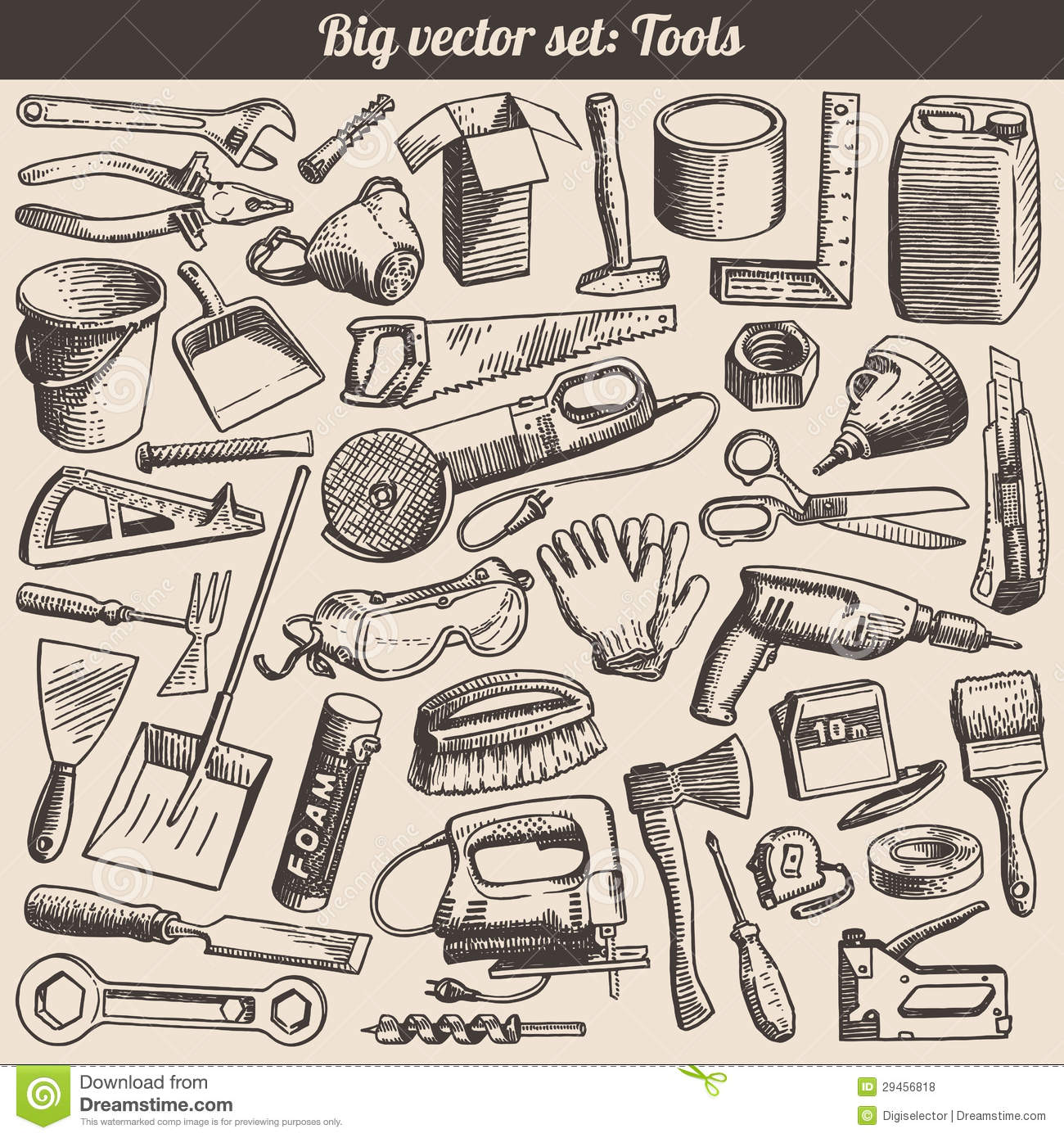 Doodles Collection Of Tools Instruments Vector