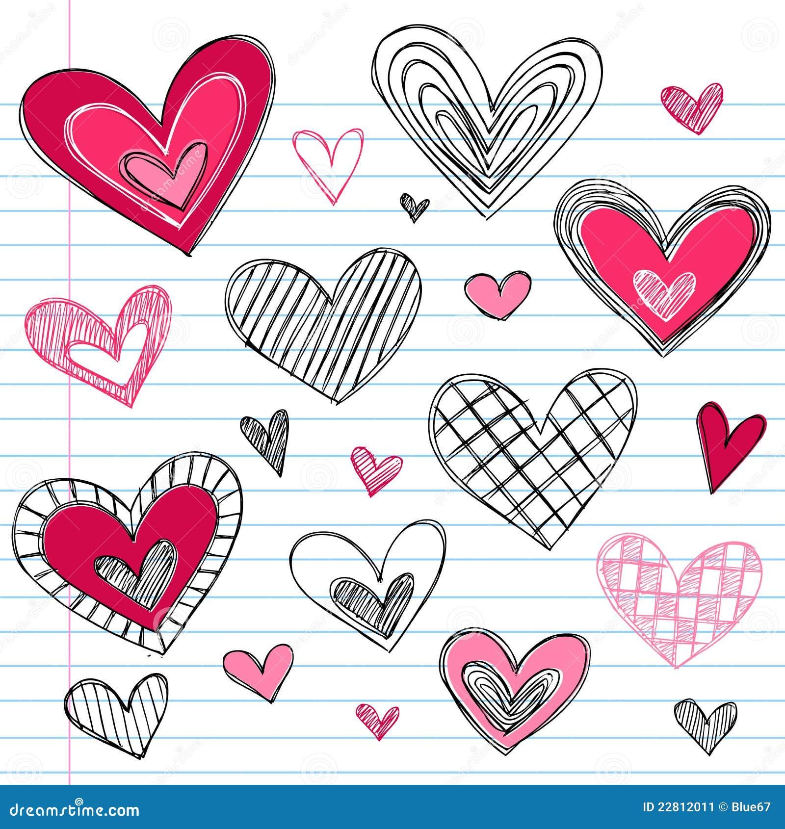Doodles del amor del día de tarjeta del día de San Valentín de los corazones