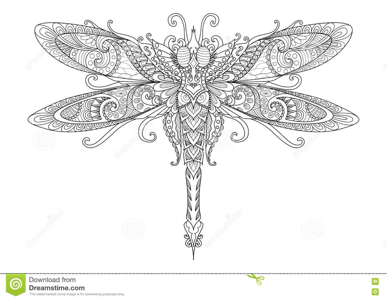 doodles design of dragonfly for tattoo design element t shirt