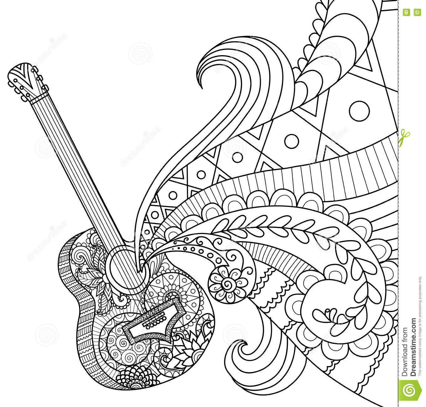 Doodles Design Of Guitar For Coloring Book For Adult Stock Vector