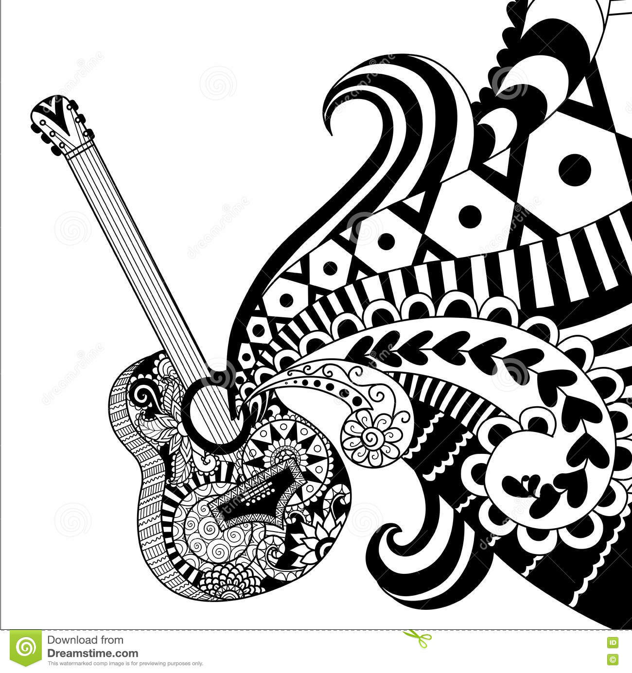 Doodles Design Of Guitar For Coloring Book For Adult
