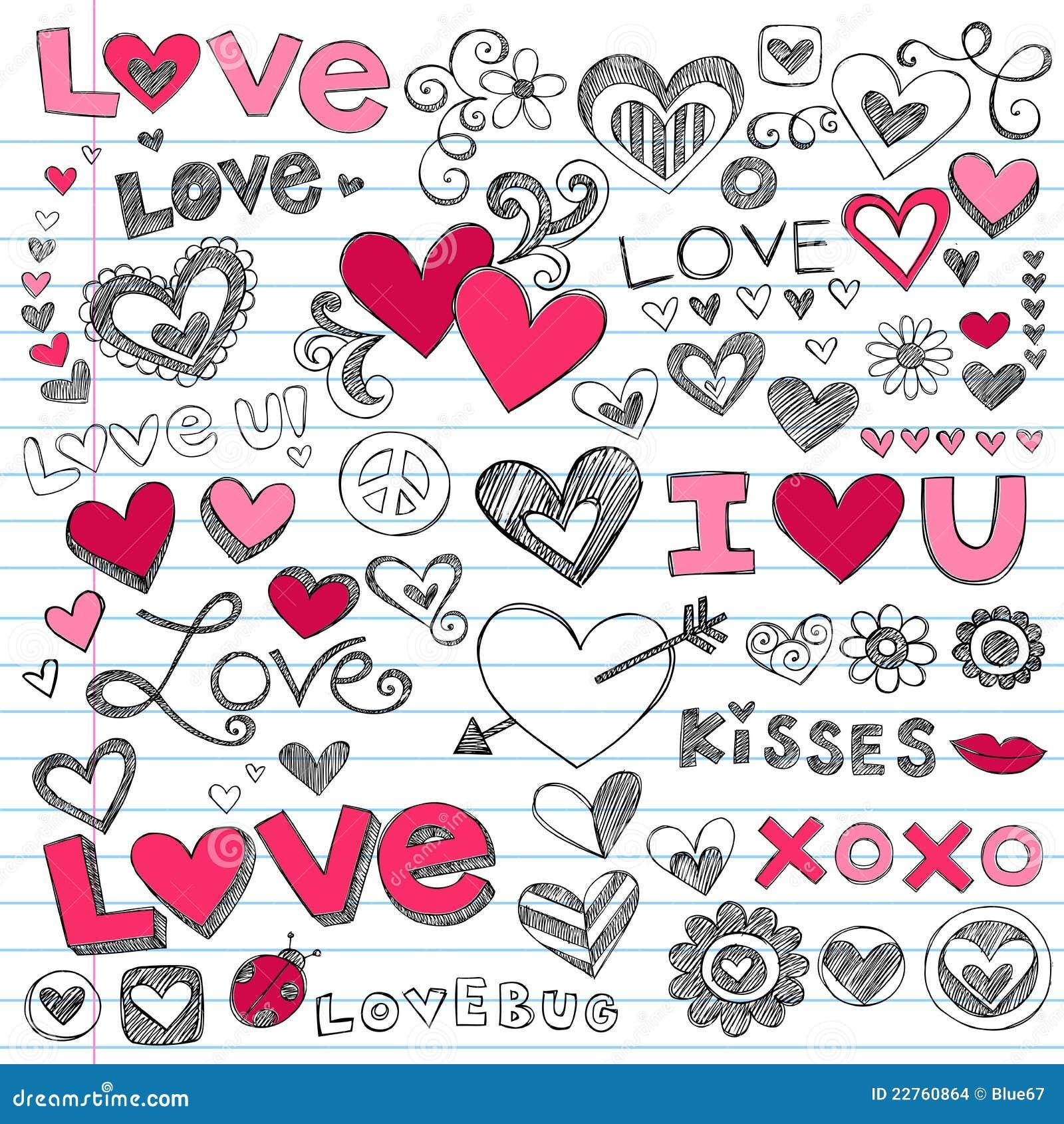 Doodles do dia do Valentim dos corações do amor