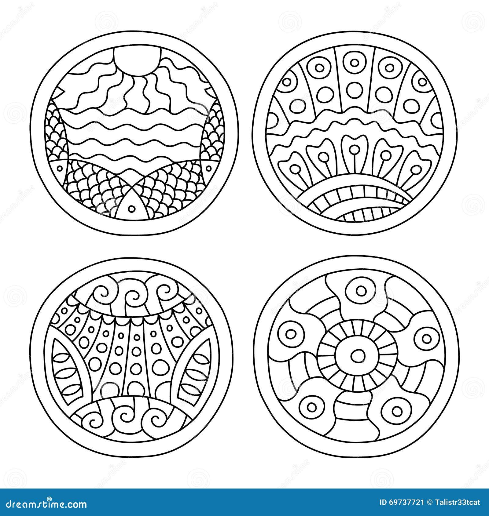 Doodles filled circles set.