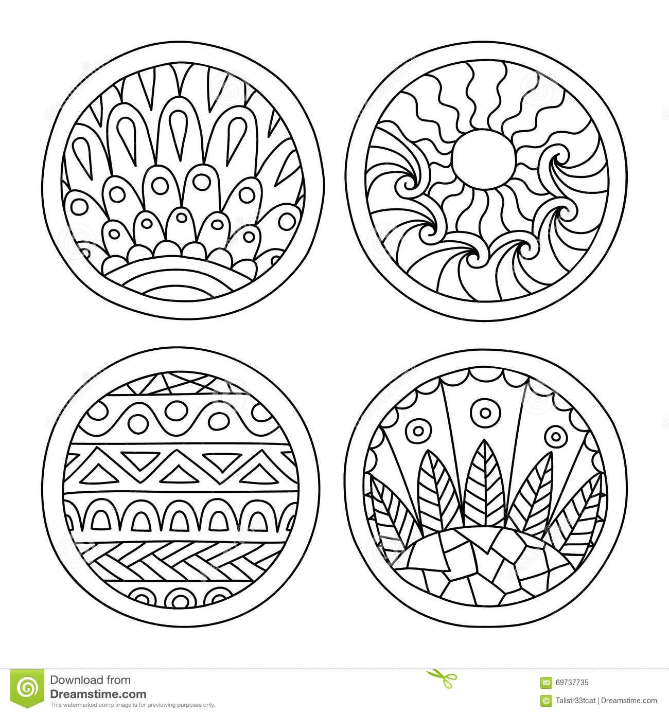Doodles Filled Circles Set Stock Vector Image 69737735
