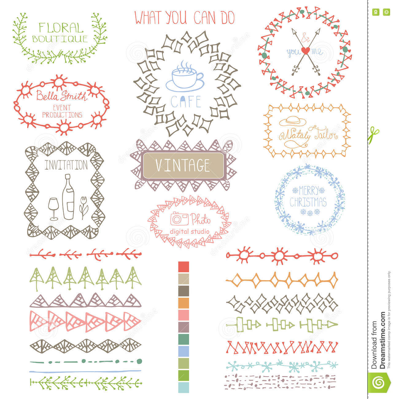 doodles hand drawn line border with logoframes stock