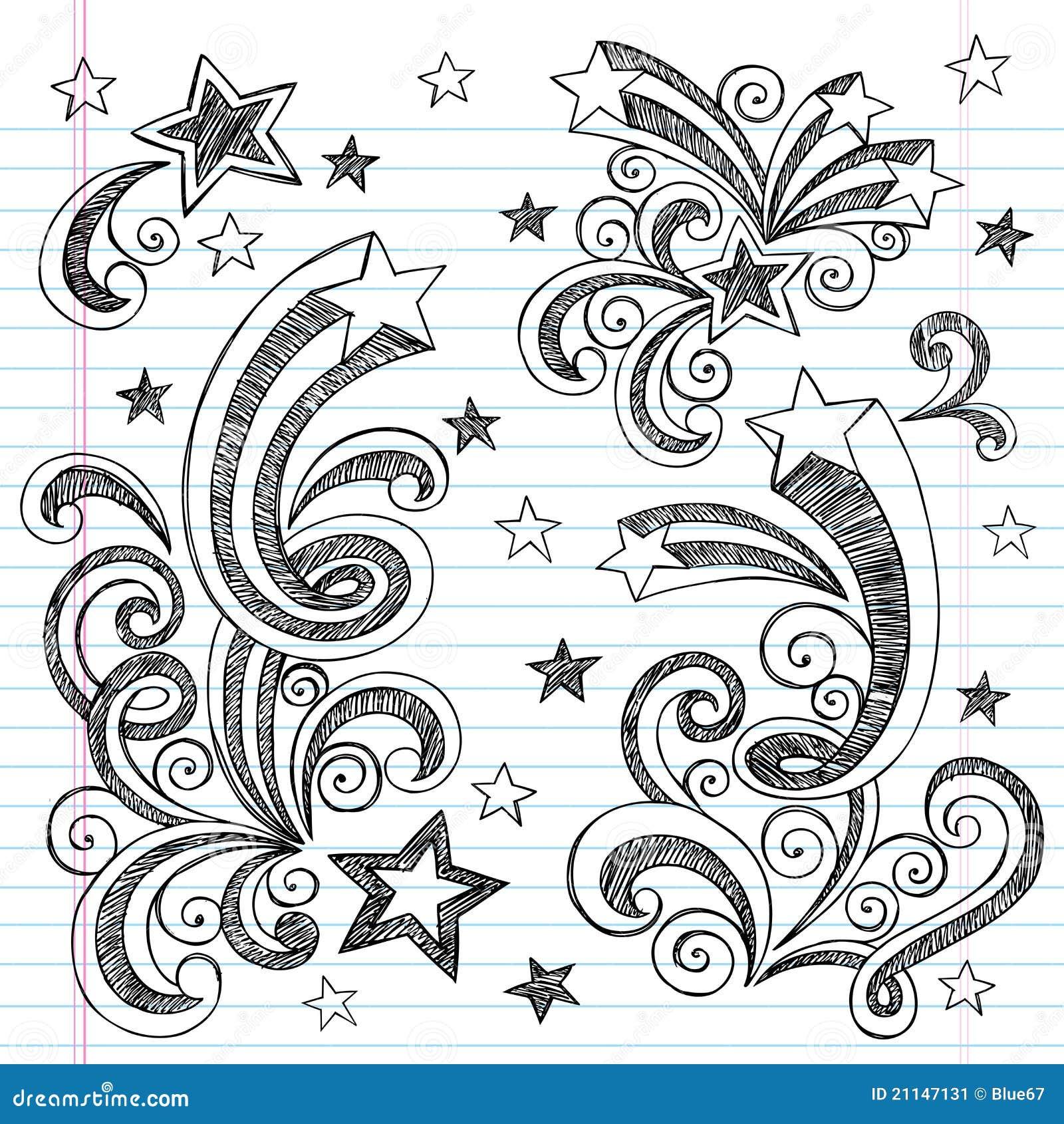 Doodles incompletos a mano de las estrellas fugaces