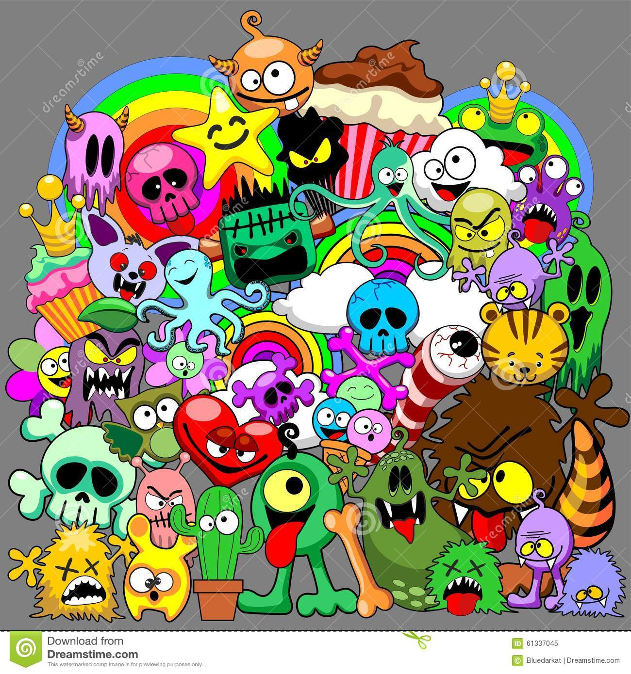Doodles Monsters Saga Stock Vector - Image: 61337045