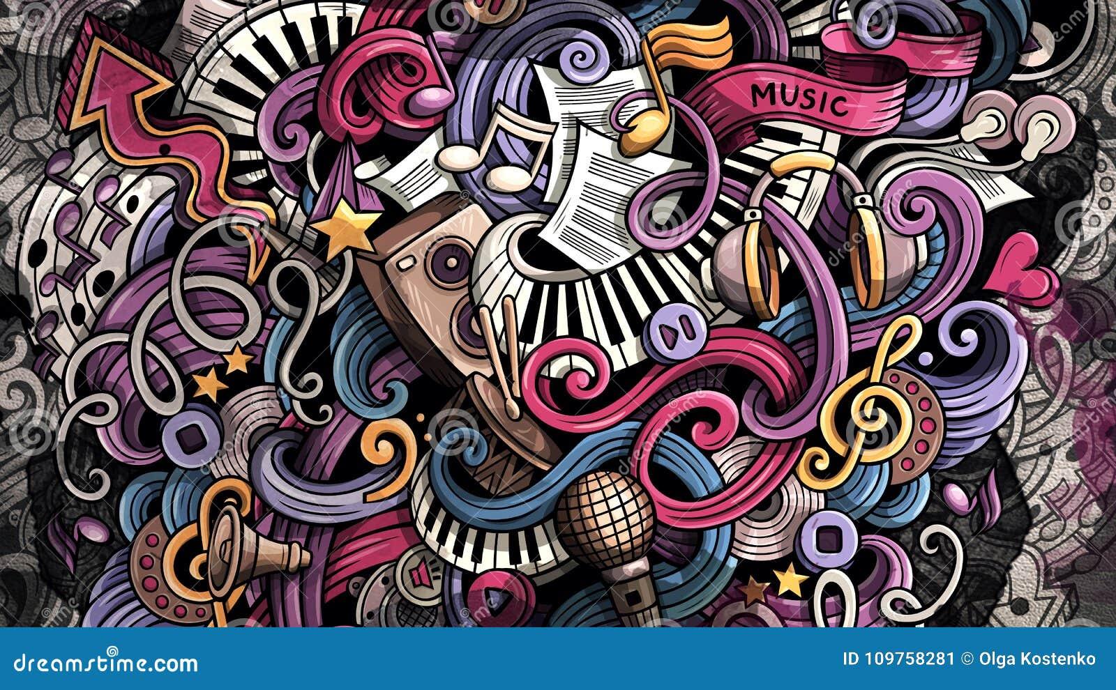 Doodles Music Illustration Creative Musical Background Stock