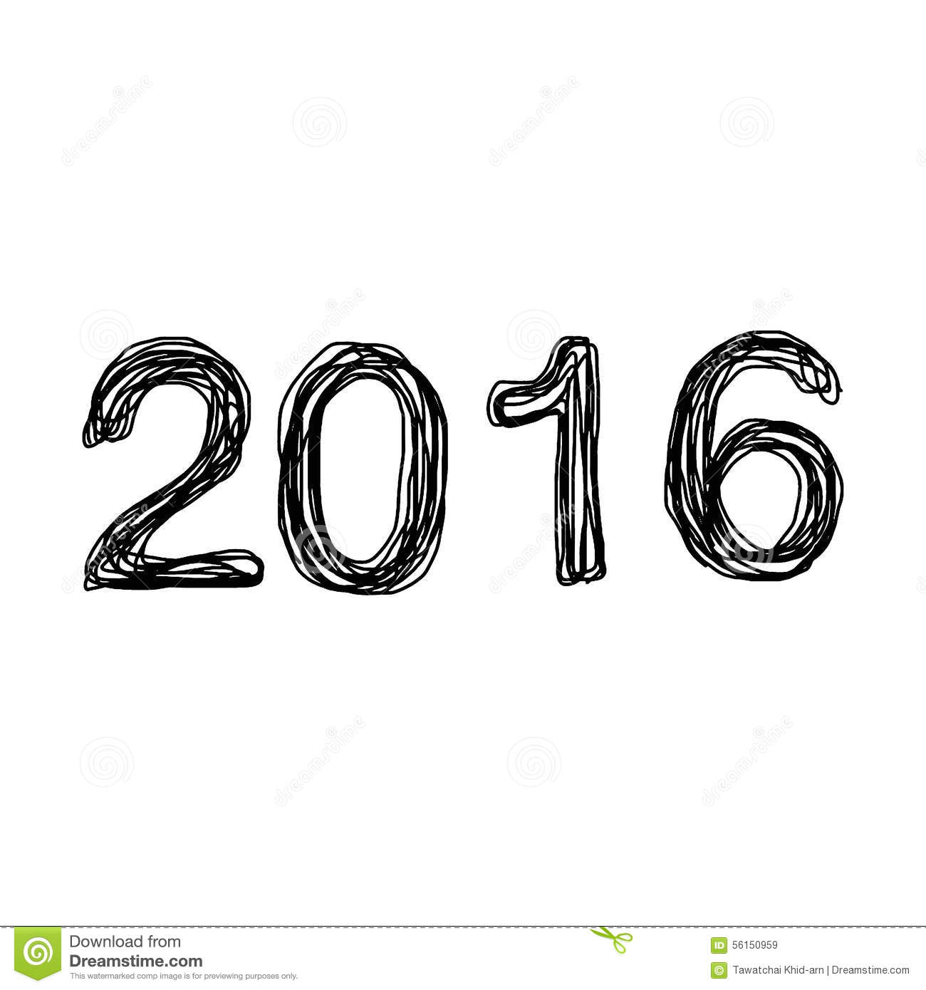 Illustration vector hand drawn doodles of number 2016 new year