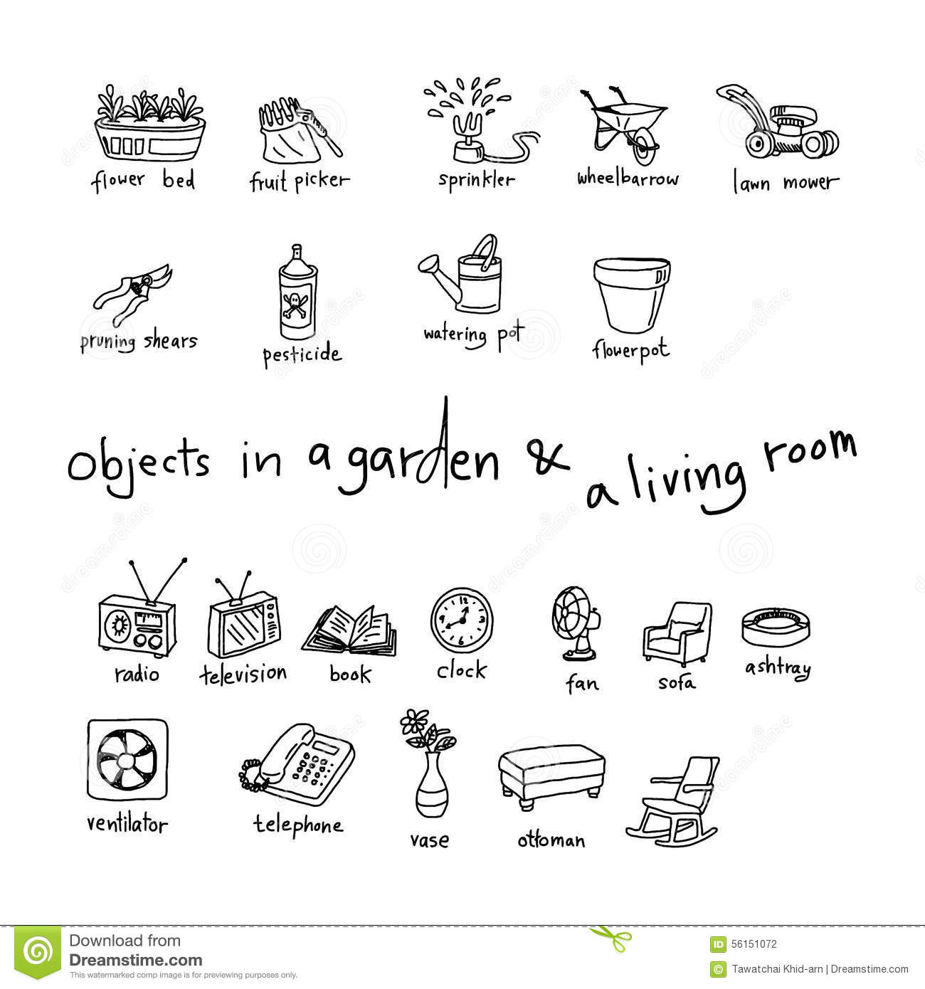 Royalty Free Stock Photo. Download Doodles Of Objects In Garden ...