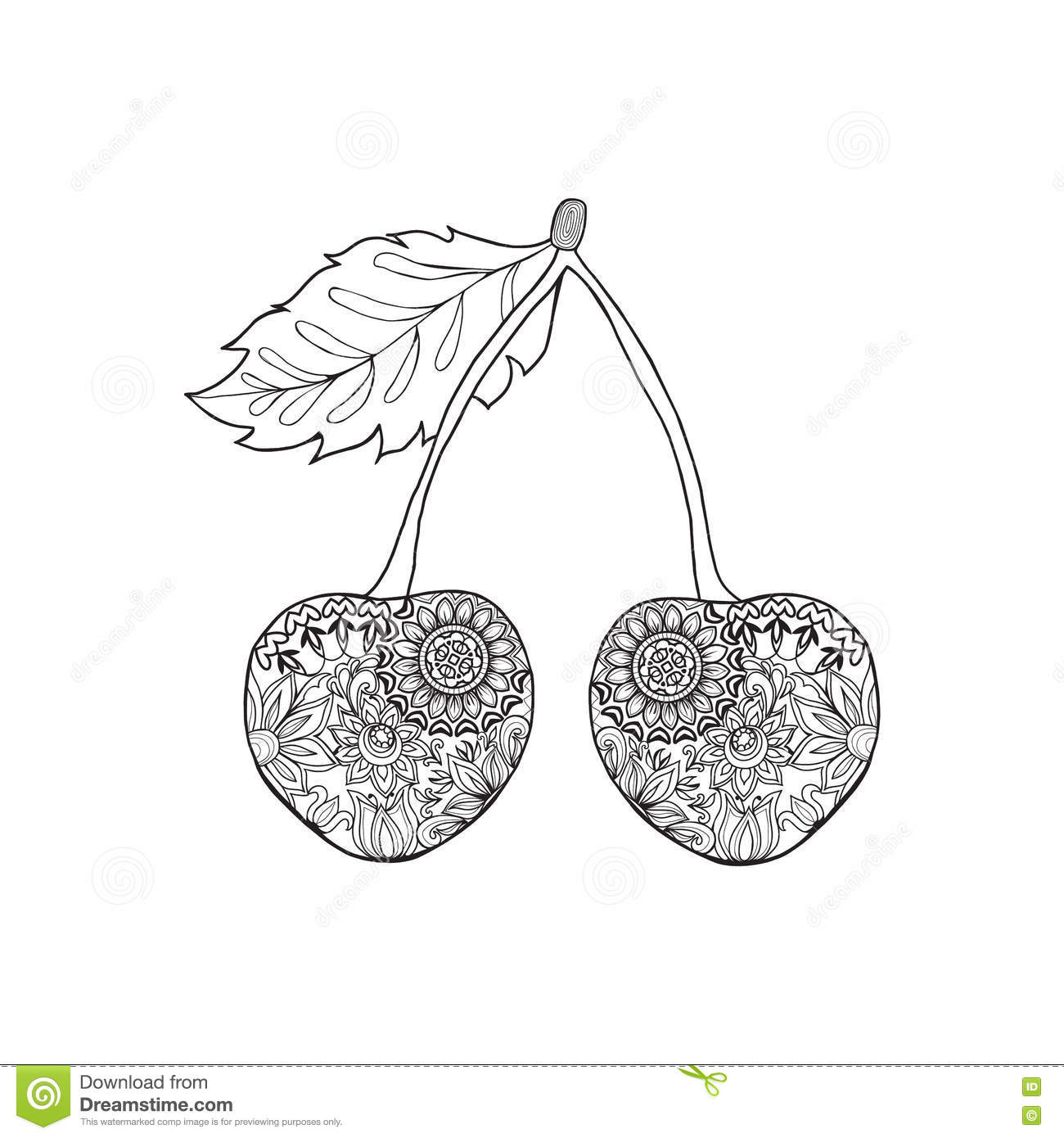 Doodles ornament zentangle cherries stock vector image for Where the red fern grows coloring pages