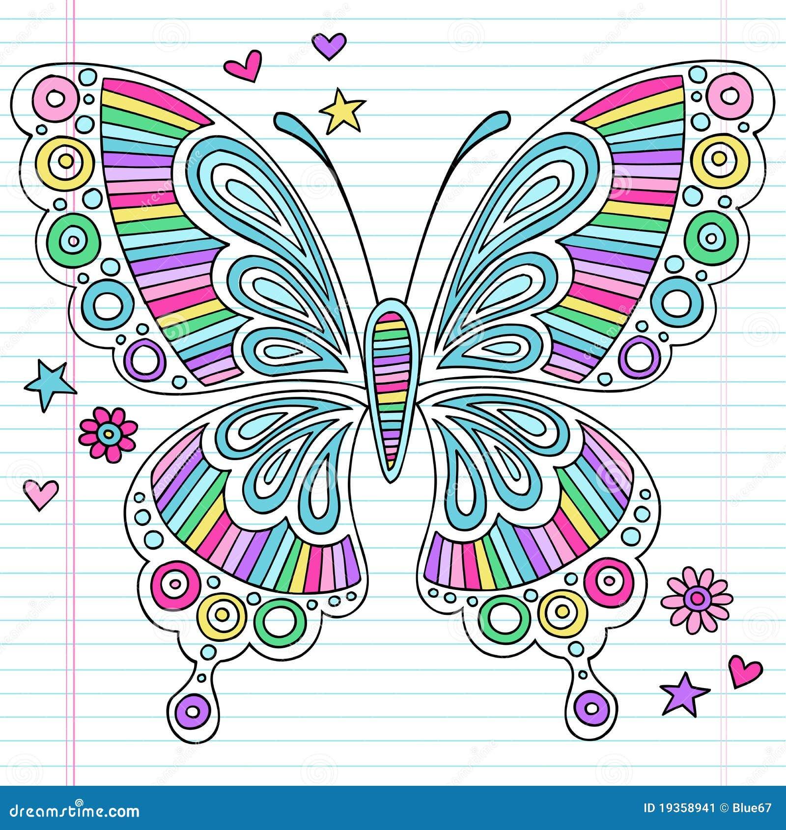 Doodles psicadélicos do caderno da borboleta do arco-íris
