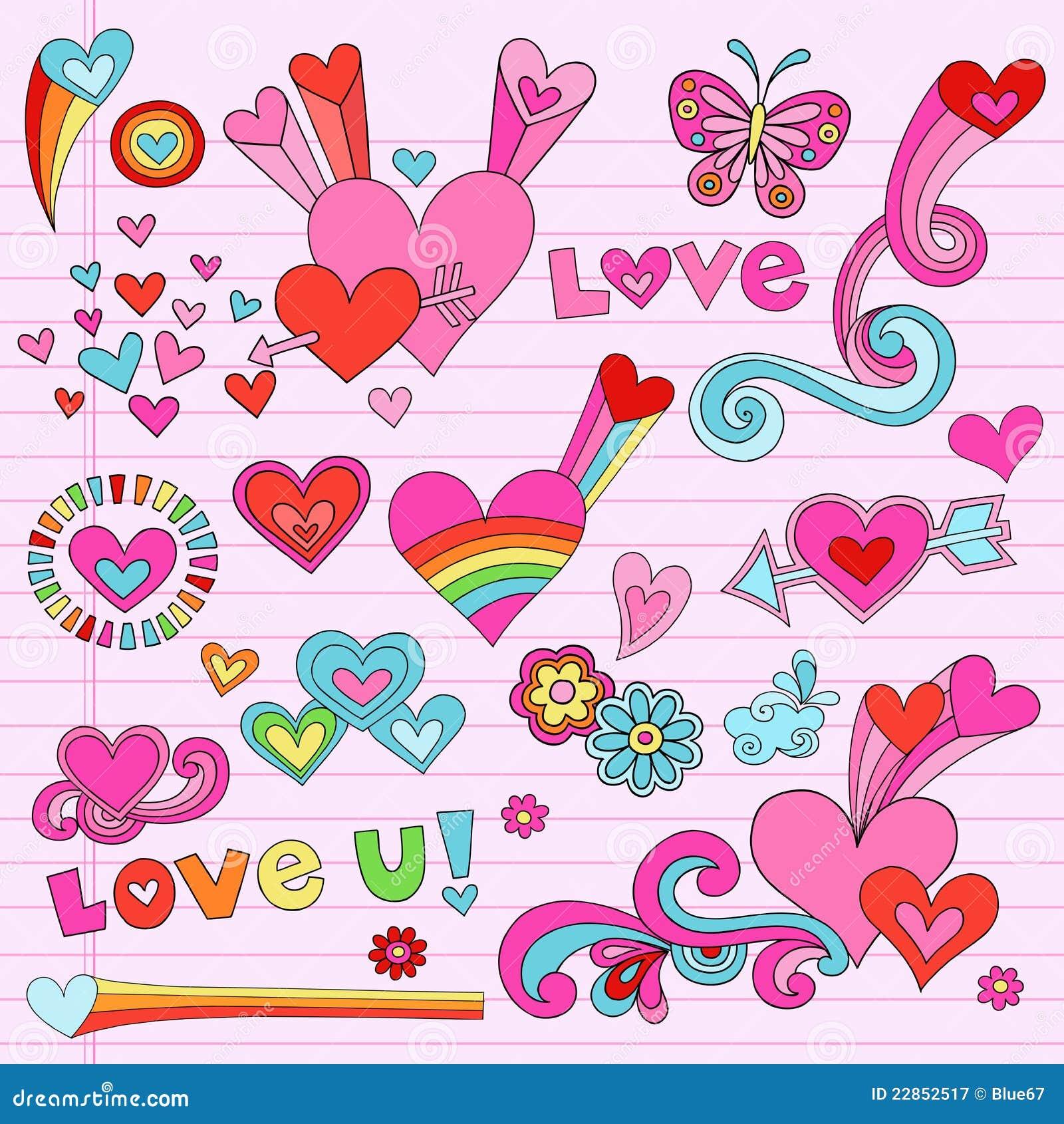 Doodles psychedelic καθορισμένο διάνυσμα αγάπης καρδιών