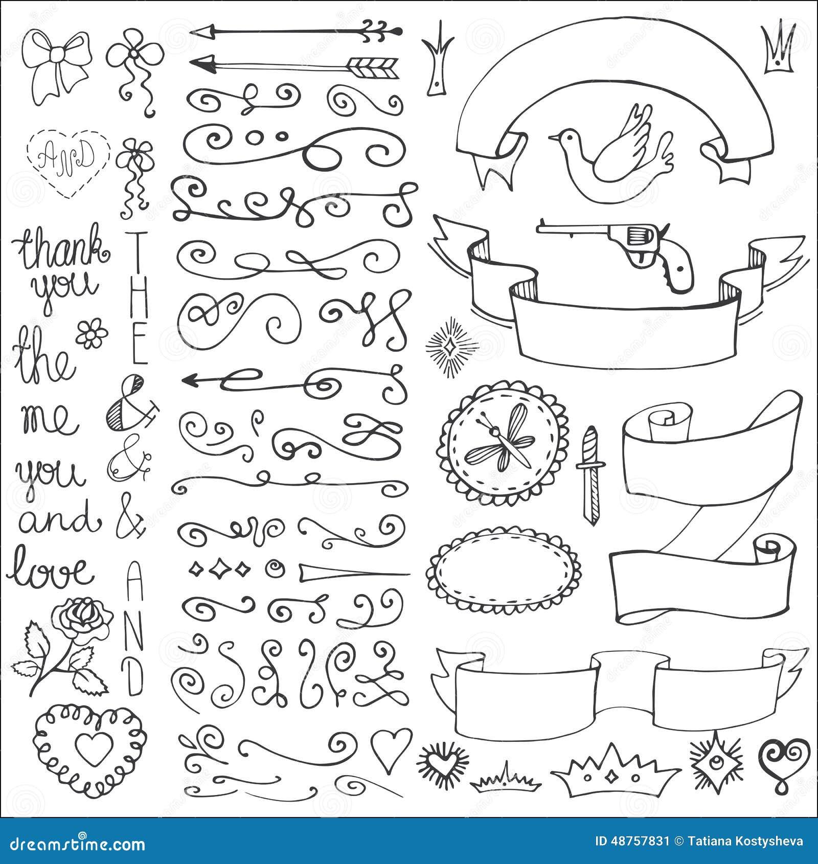 Doodles ribbons badges arrows decor element love stock for Dibujos para decorar