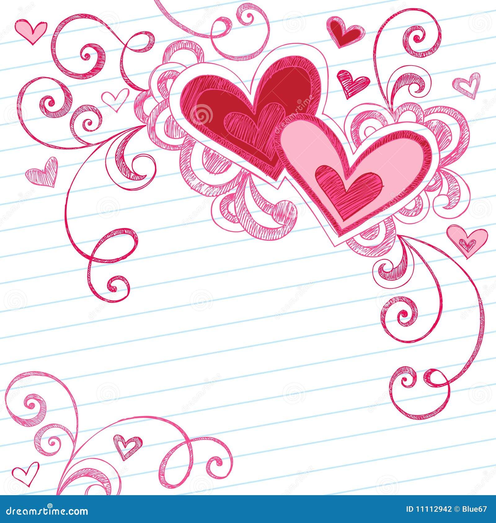 Doodles serca wykładający notatnika papier szkicowy