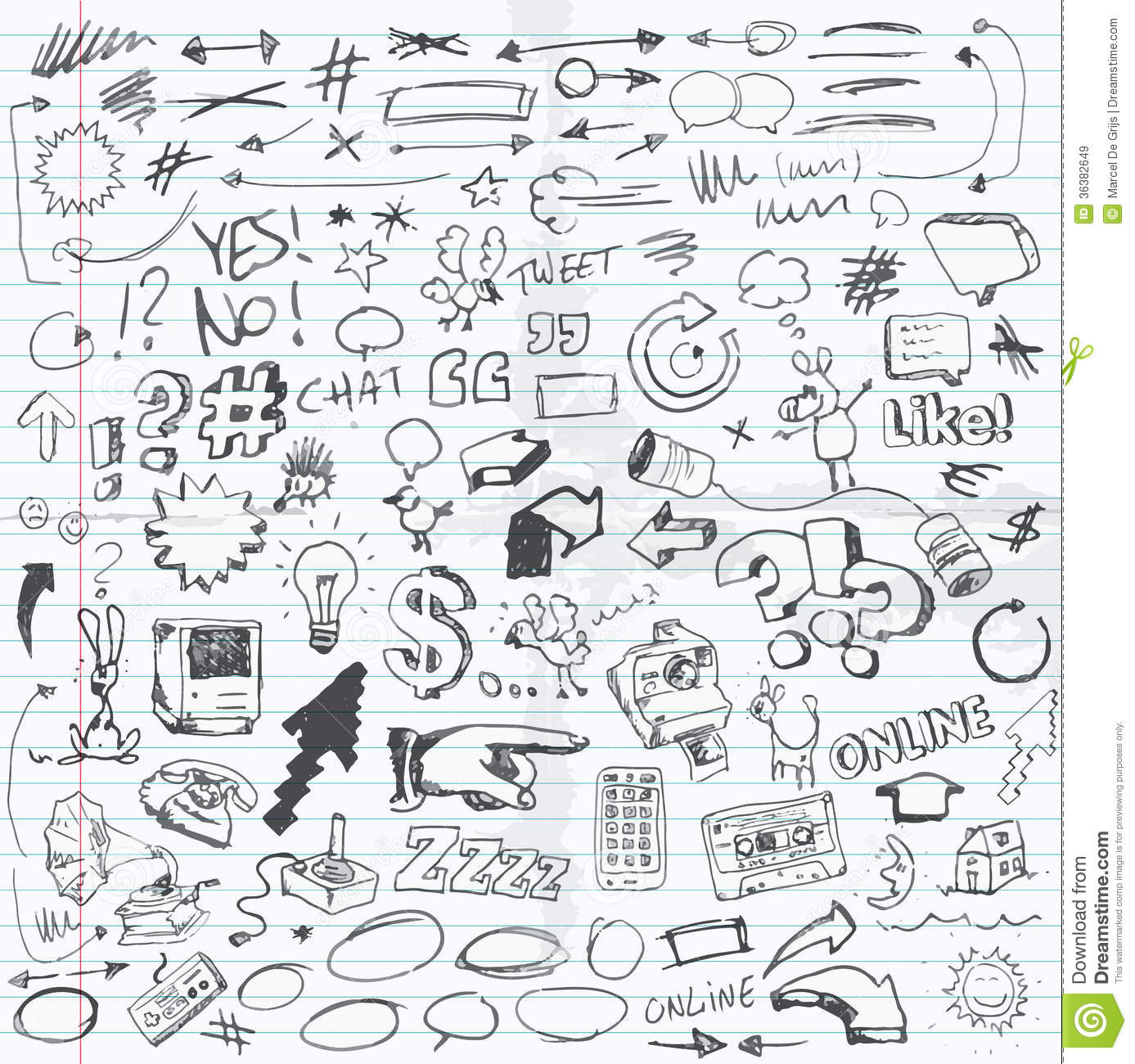 Set Of Doodle Drawings Different Items Or Sketches
