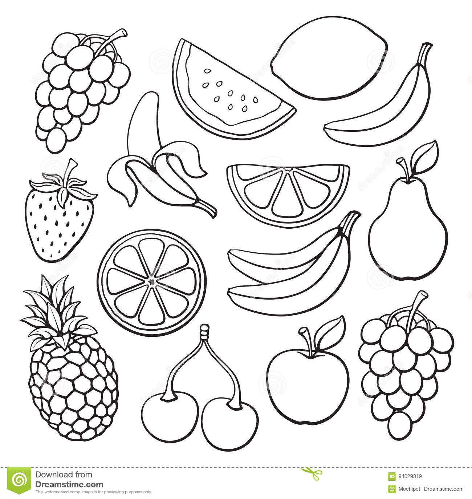 Line Drawing Fruit : Set of tropical fruit doodles cartoon vector