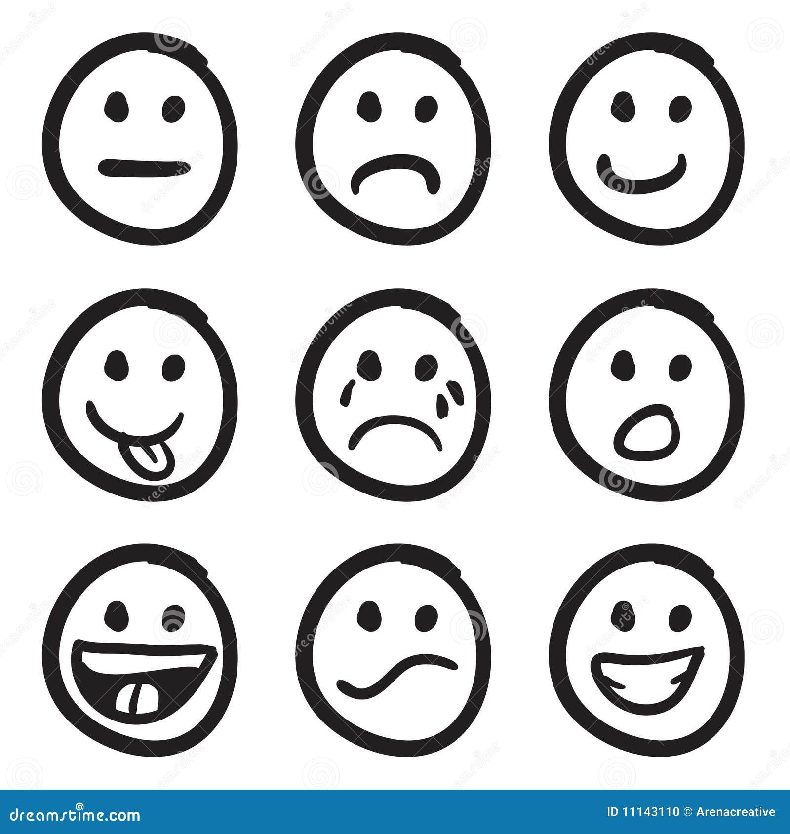 Sistema De Iconos Sonrientes: Diversas Emociones Ilustración del ...