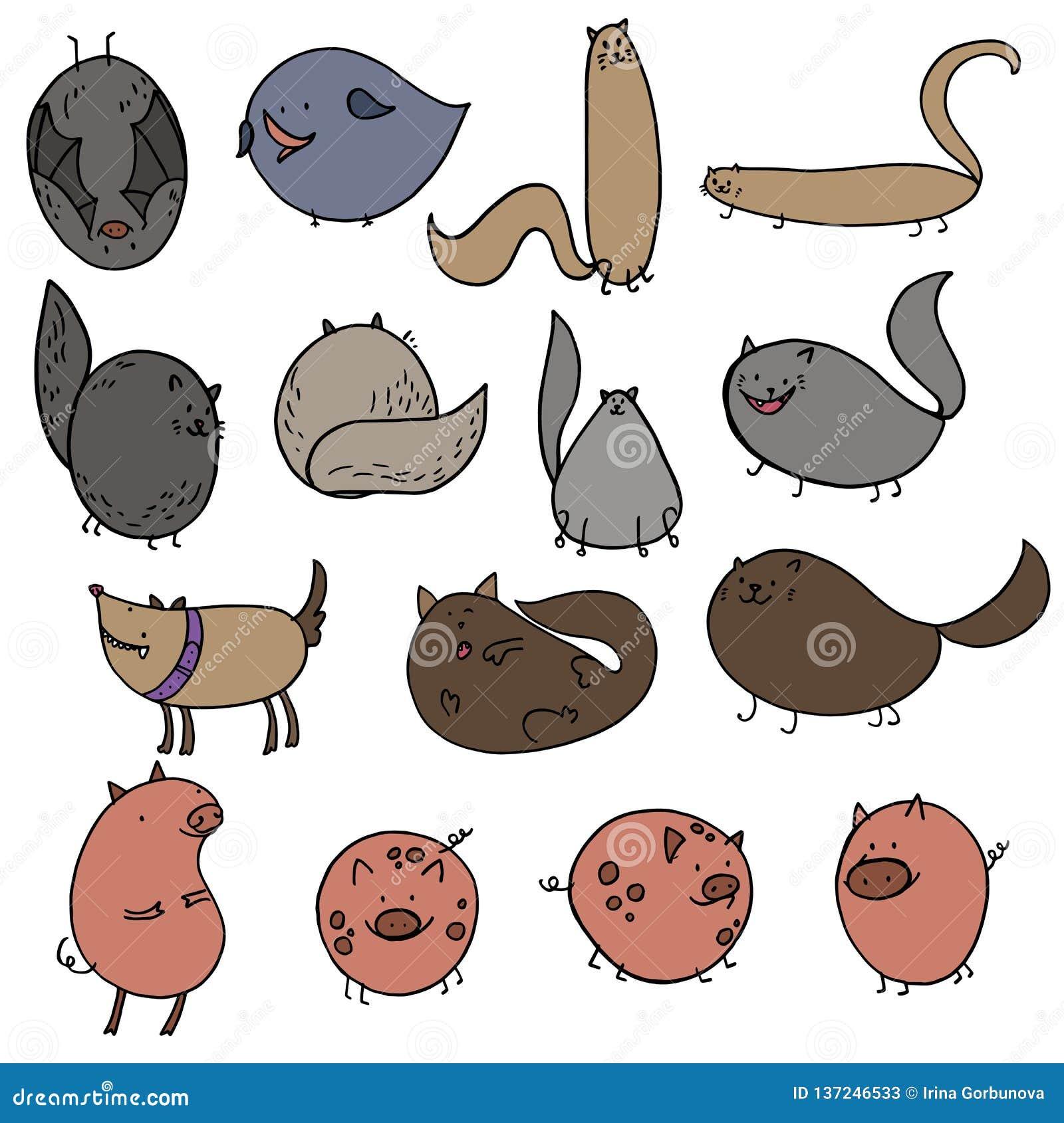 Doodles Vector Illustration Of Cartoon Cat Dog Pig Bat Bird Stock