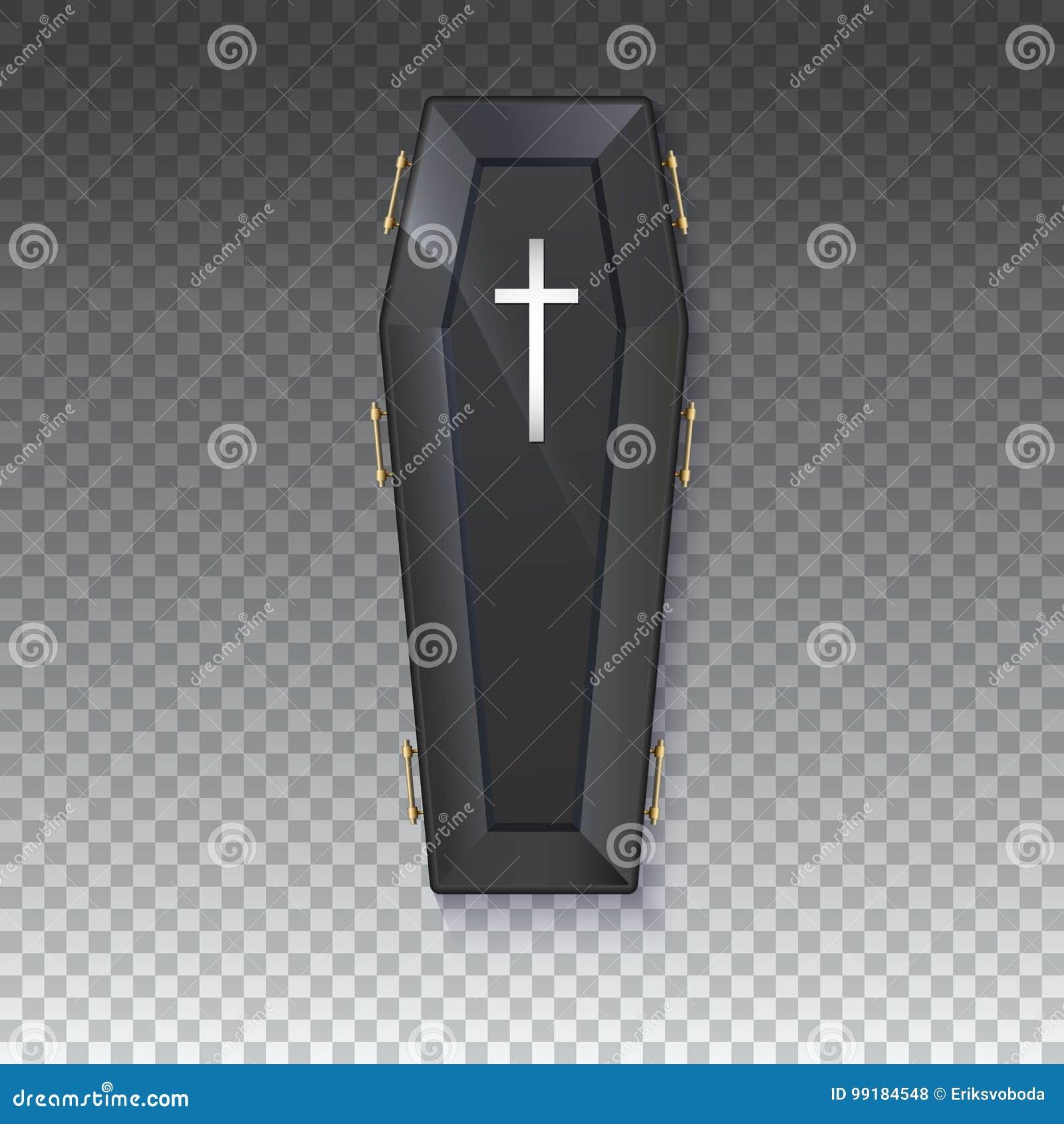 Doodskistpictogram met een metaalkruisbeeld en handvatten op een geïsoleerde transparante achtergrond