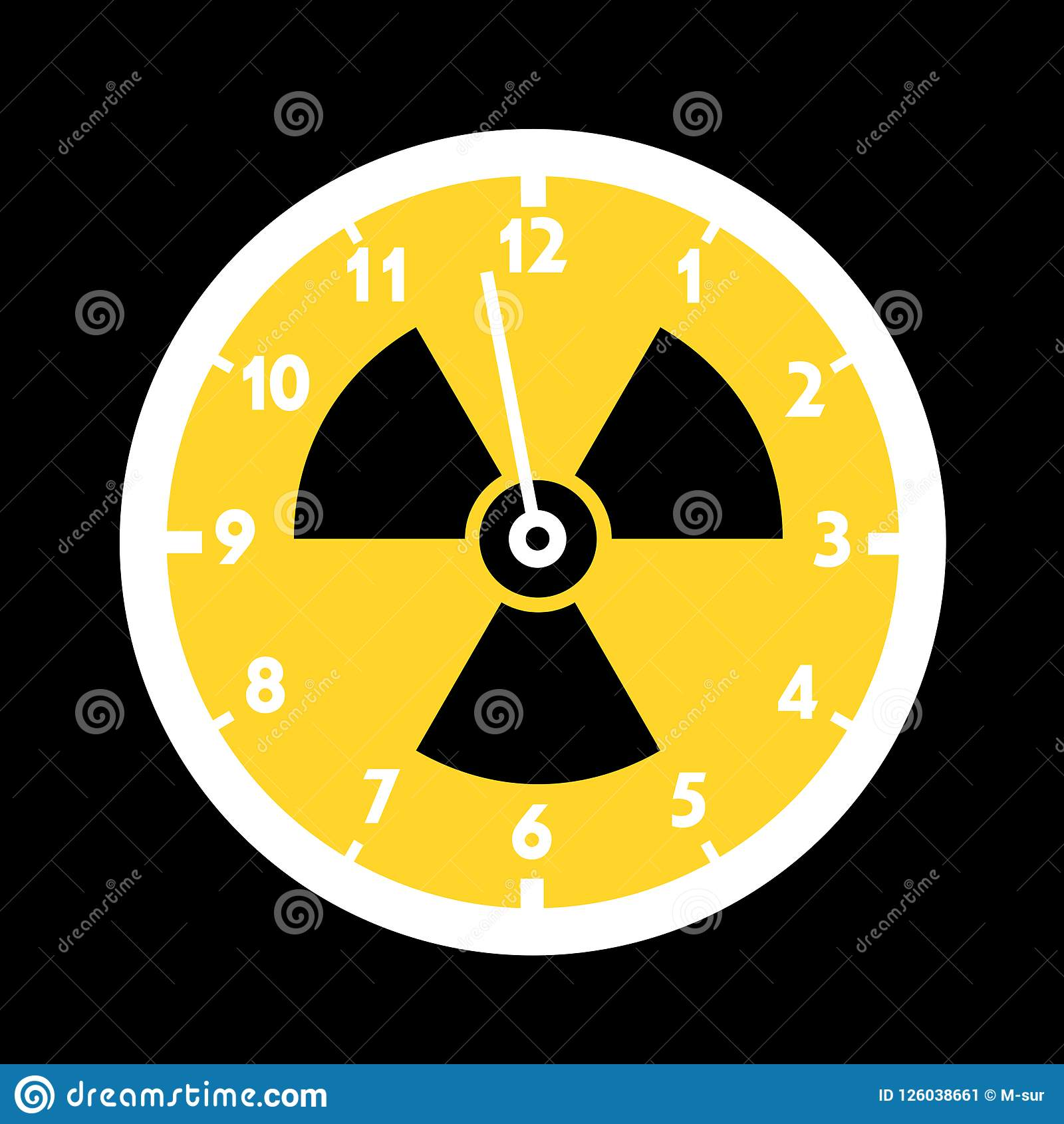 Doomsday Clock With Symbol Of Nuclear And Atomic Radiactivity Stock