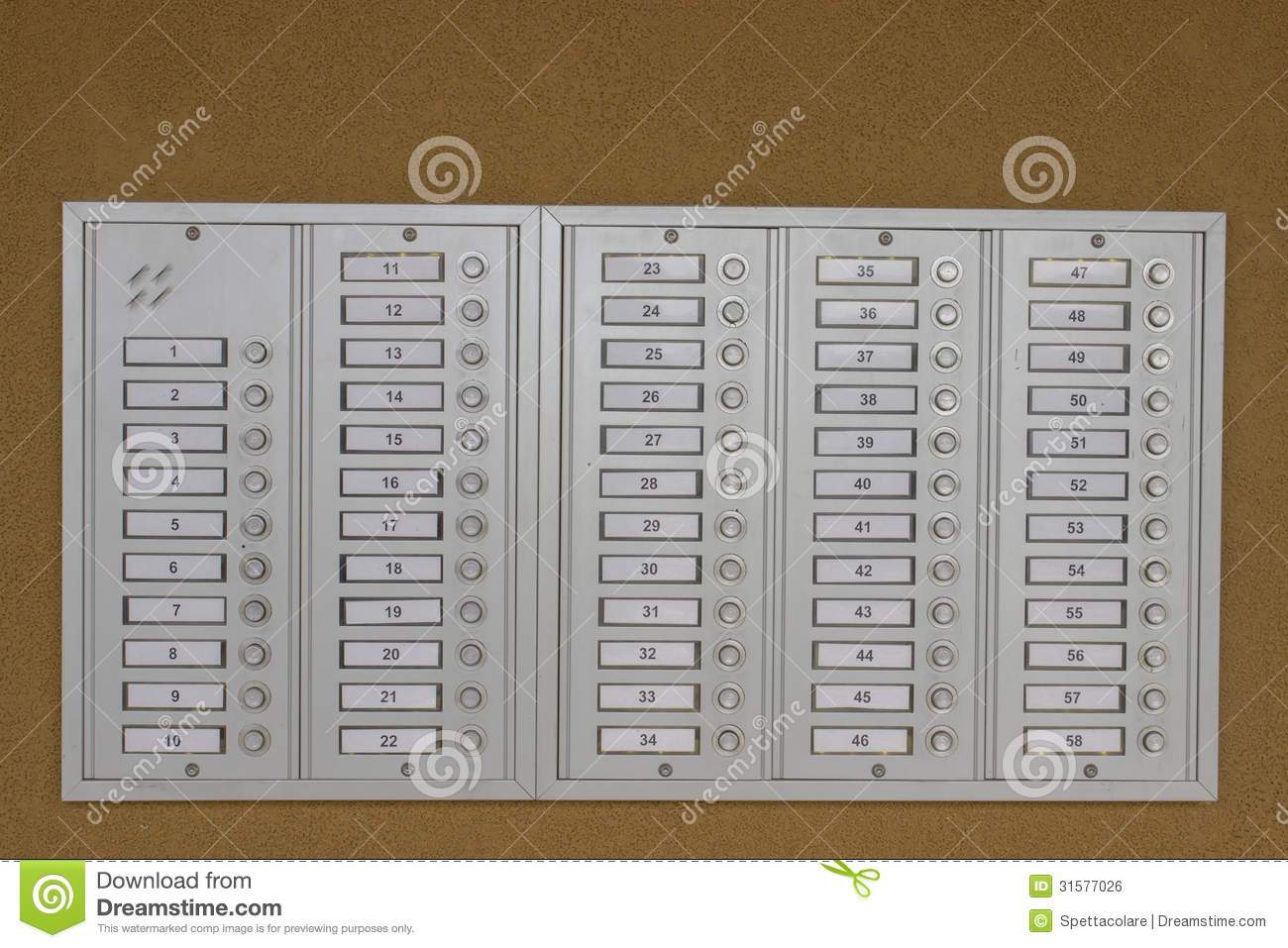 Door Bell Buttons Stock Photo Image Of Front Elevator