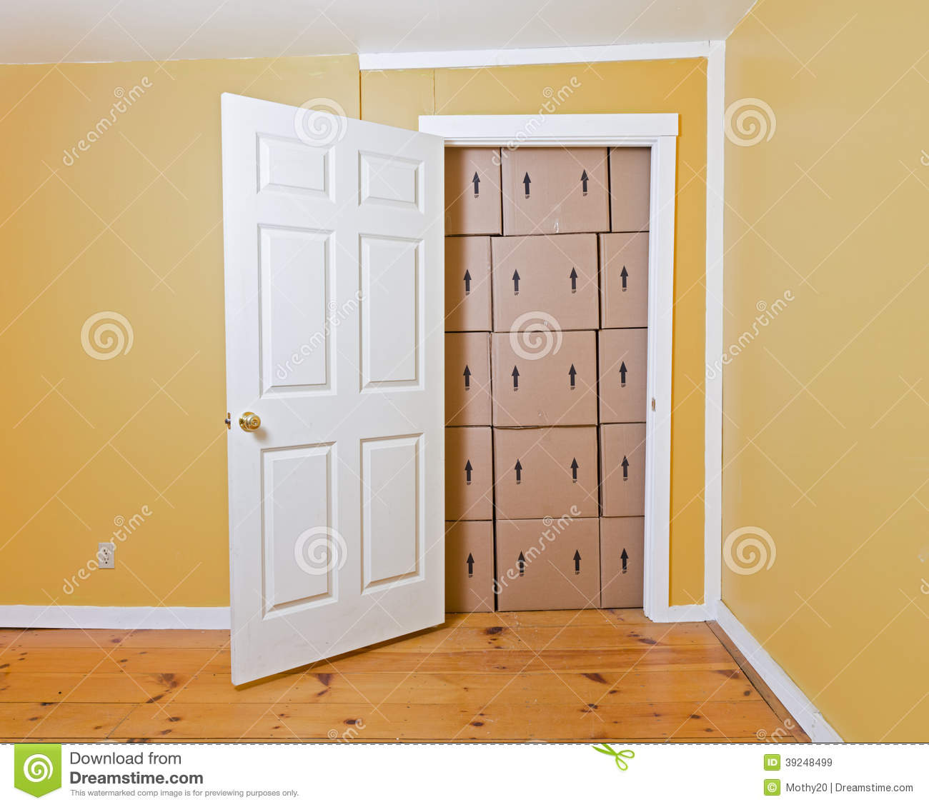 Door Blocked By Boxes Stock Photo - Image: 39248499