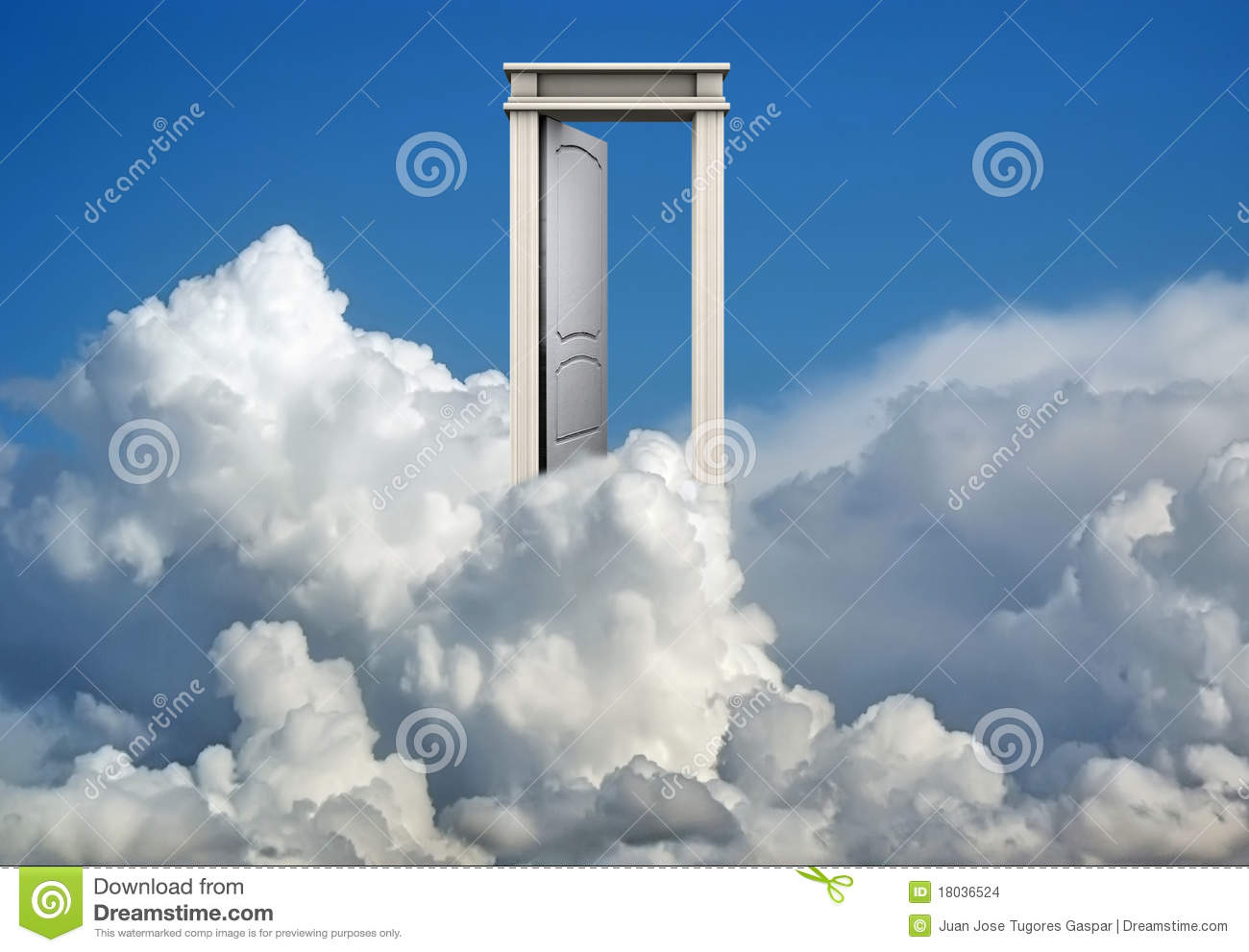 Door In Blue Sky And Clouds Stock Photo Image Of Entry