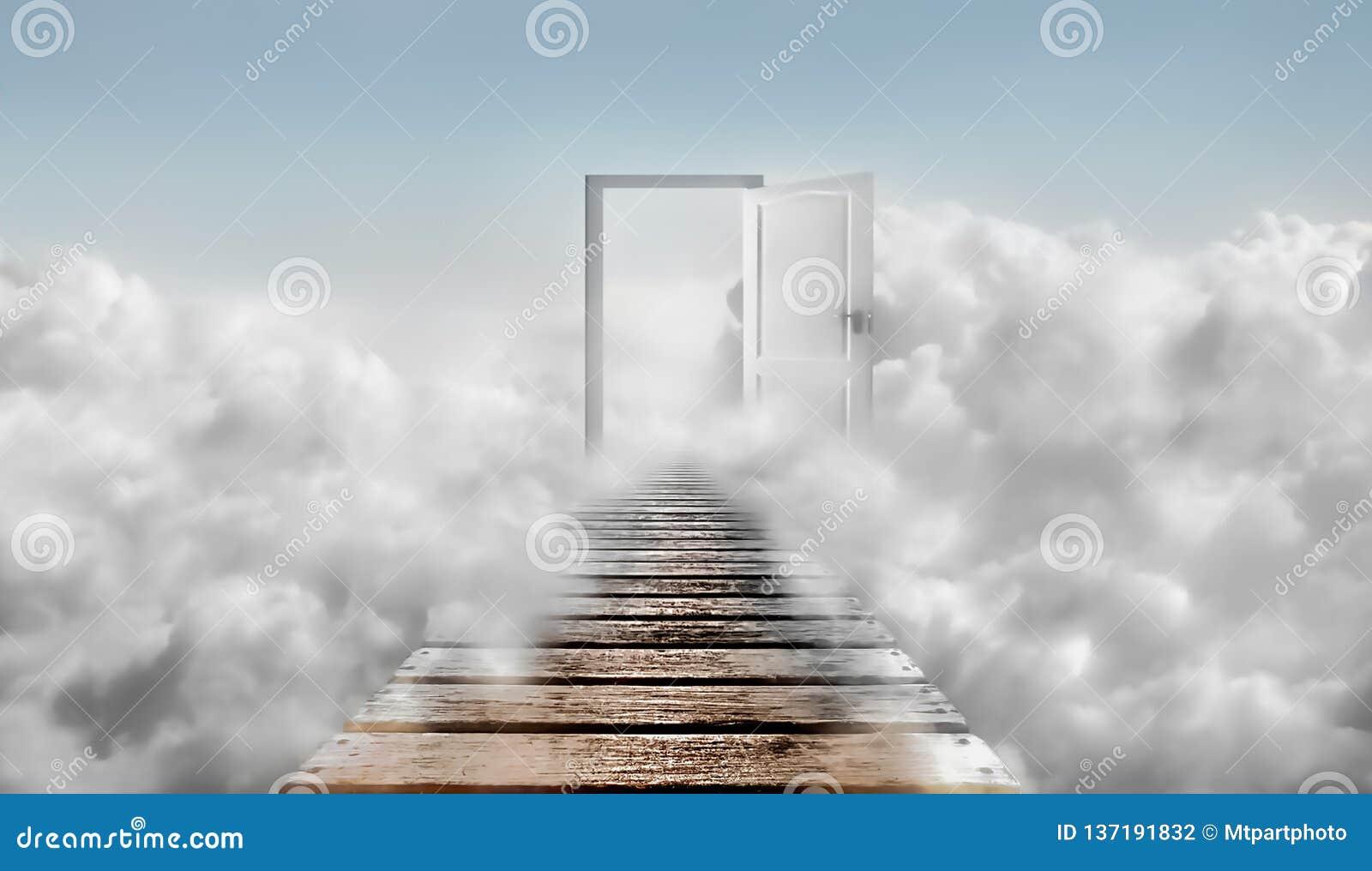 Door in blue sky and clouds. Door To Heaven.
