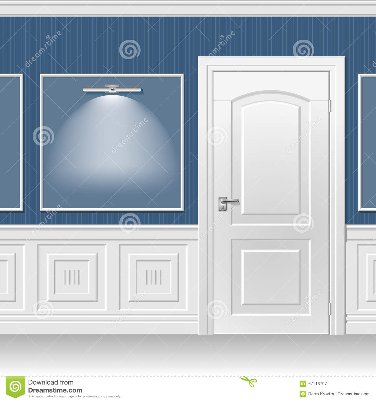 Door in the blue wall stock vector. Illustration of moldings - 67116797