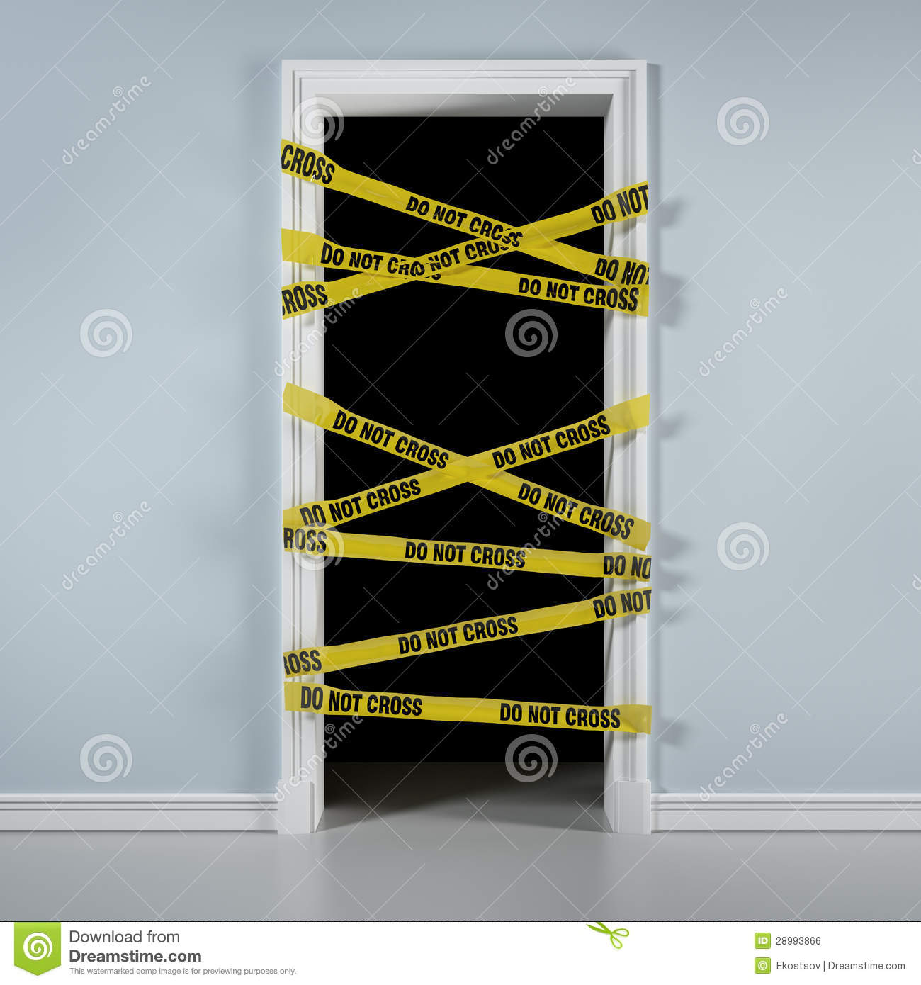 Yellow Notice On Front Door: Door With Caution Tape Stock Illustration. Image Of