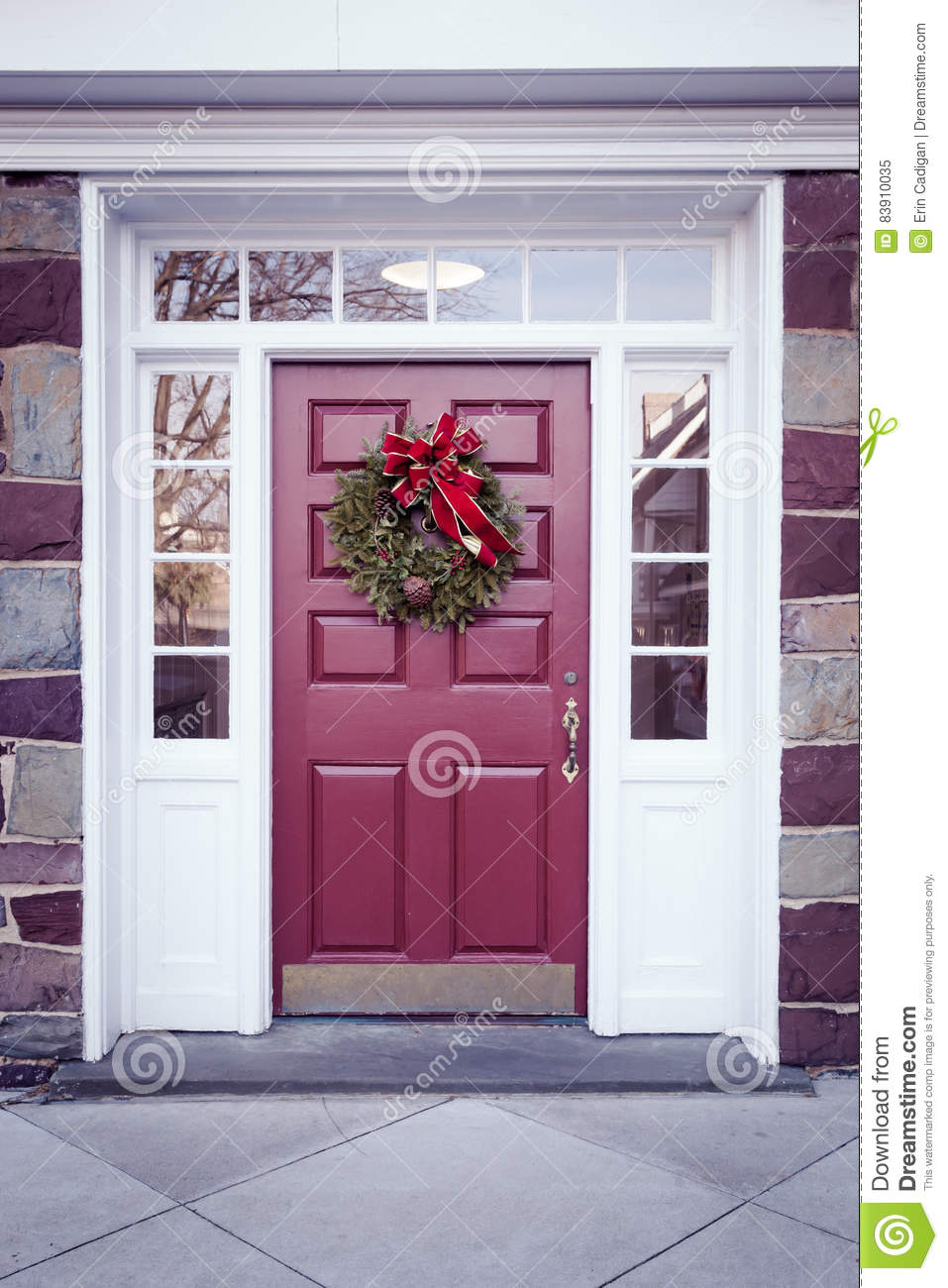 Door with Christmas Wreath