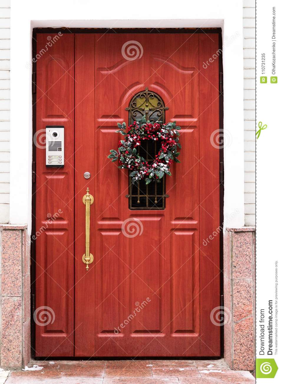 Door with a Christmas wreath