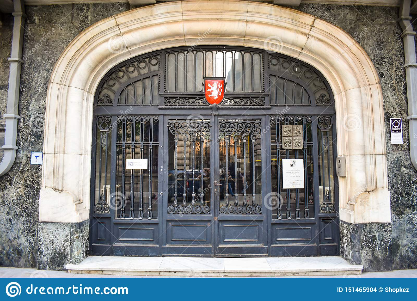 The door of Czech Embassy in Bucharest`s Historical Downtown. Bucharest, Romania - 20.054.2019
