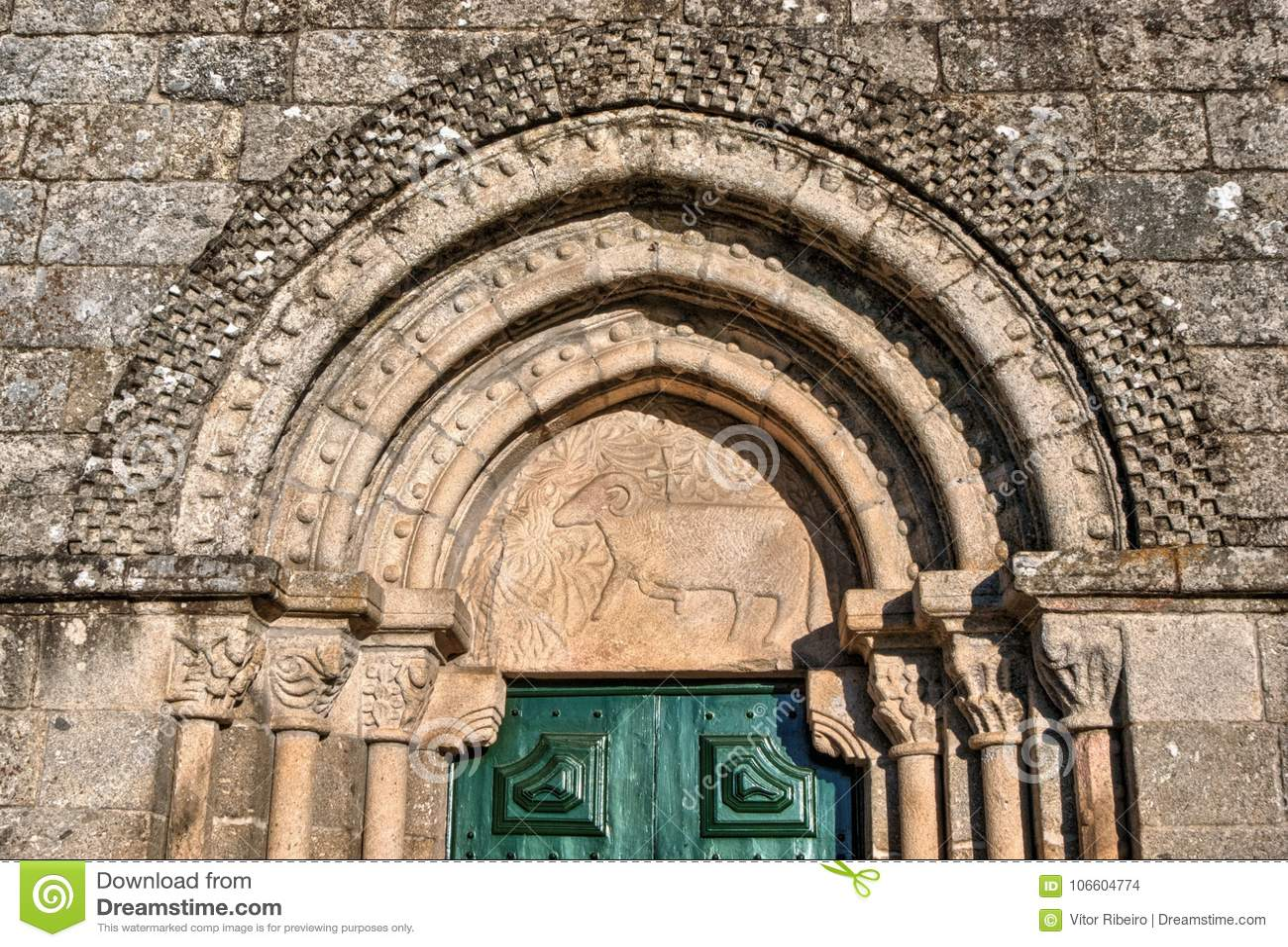 Door detail of Romanesque church of Fonte Arcada