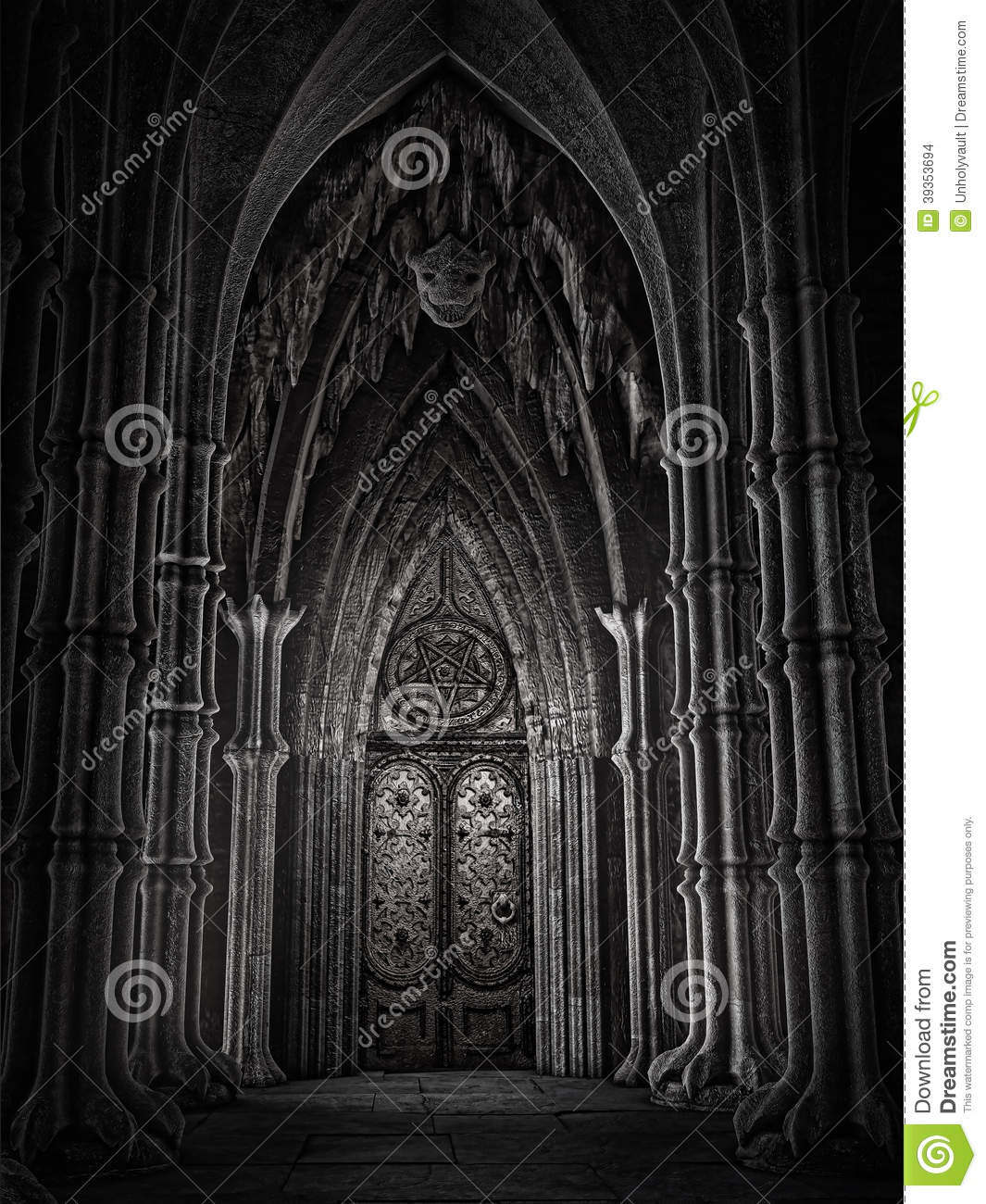 door fantasy cathedral ornamented dark 39353694