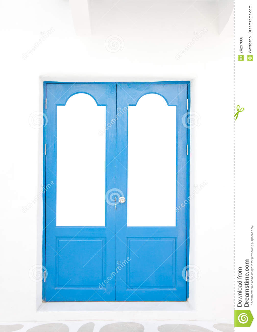 Door Frame In Greek Style On White Back Stock Photo - Image of town ...