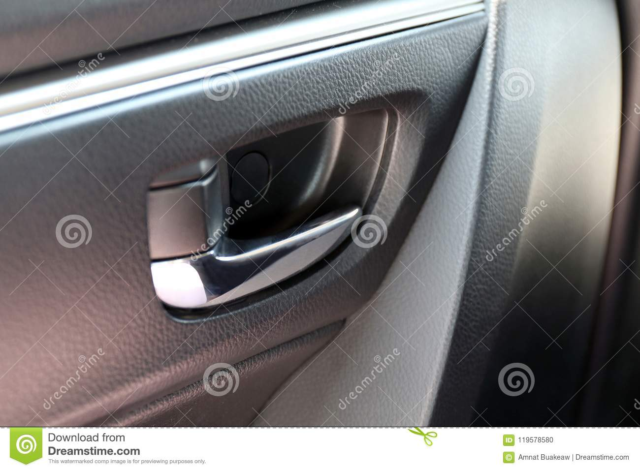 Door Handle Of Car And Central Locking, Inside The Car Door Handle ...