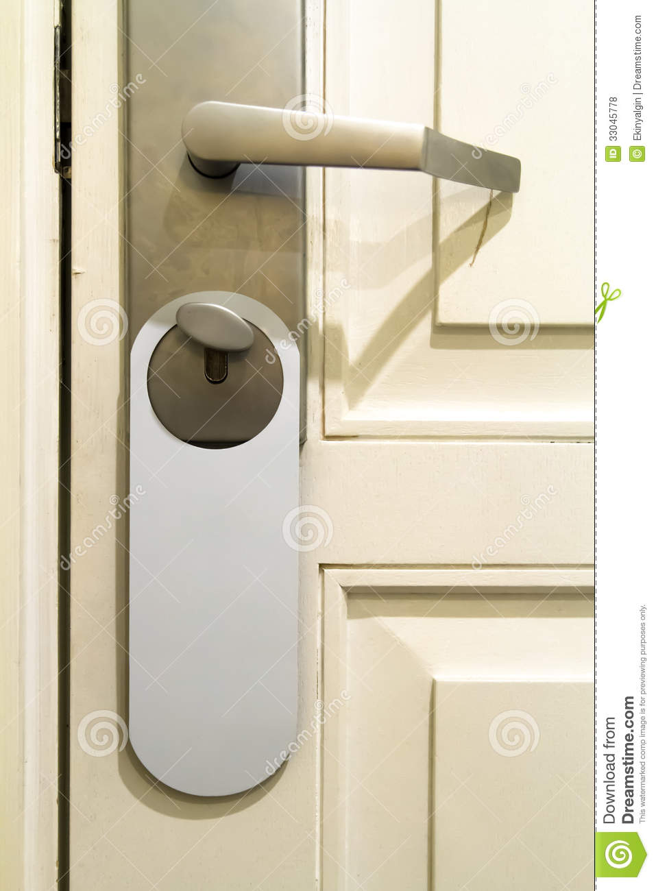 Inside Hotel Room Door: Door Handle With Hanging Sign Royalty Free Stock Photos