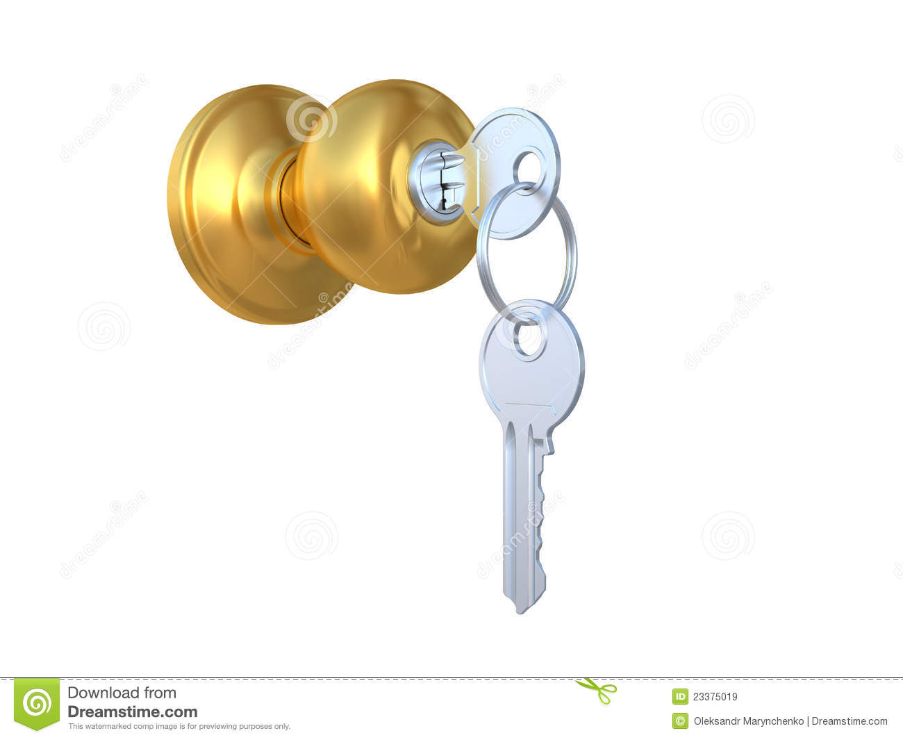 The Door Handle With The Lock And A Key Stock Illustration