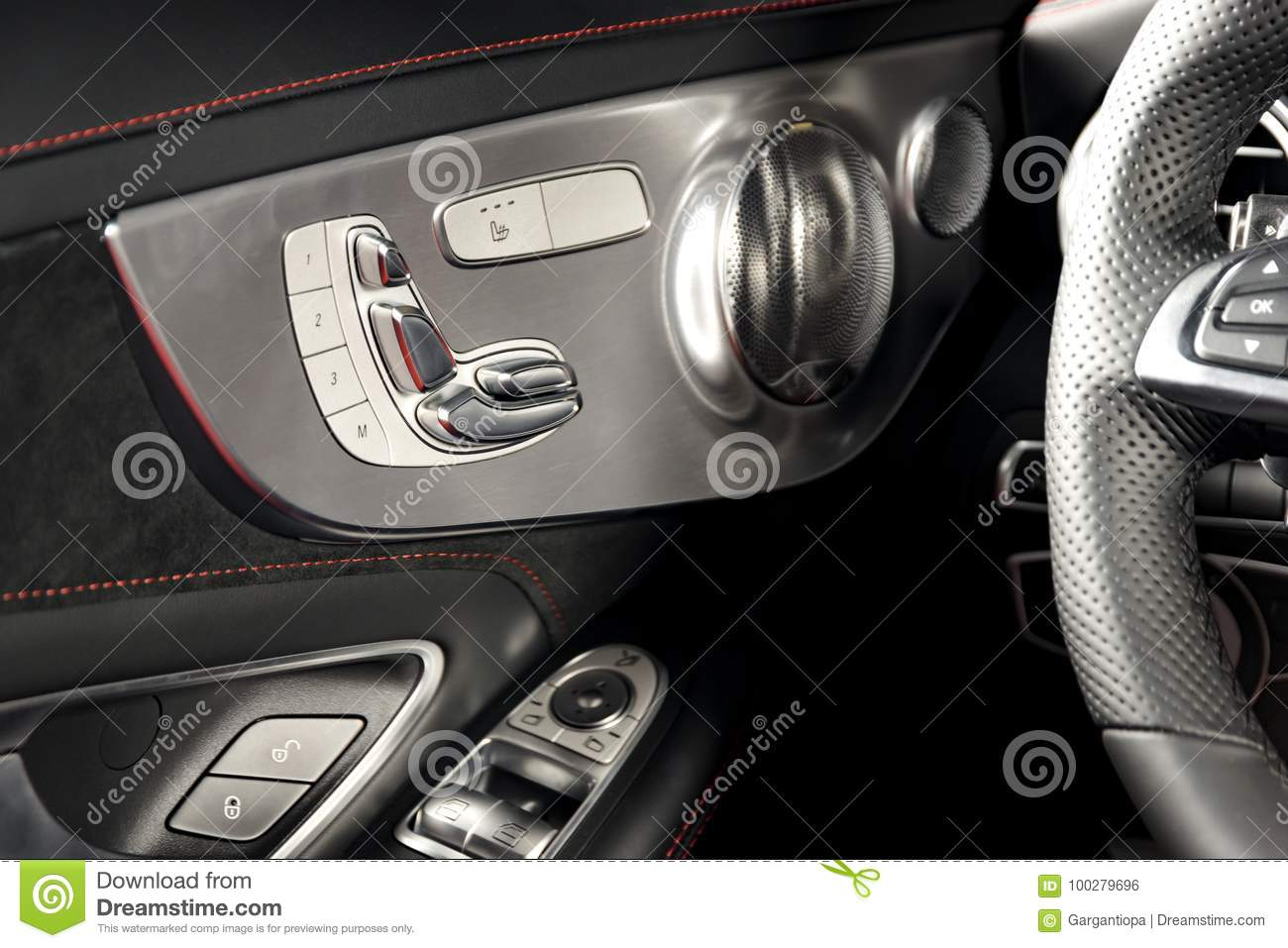 Door handle with Power seat control buttons of a luxury passenger car