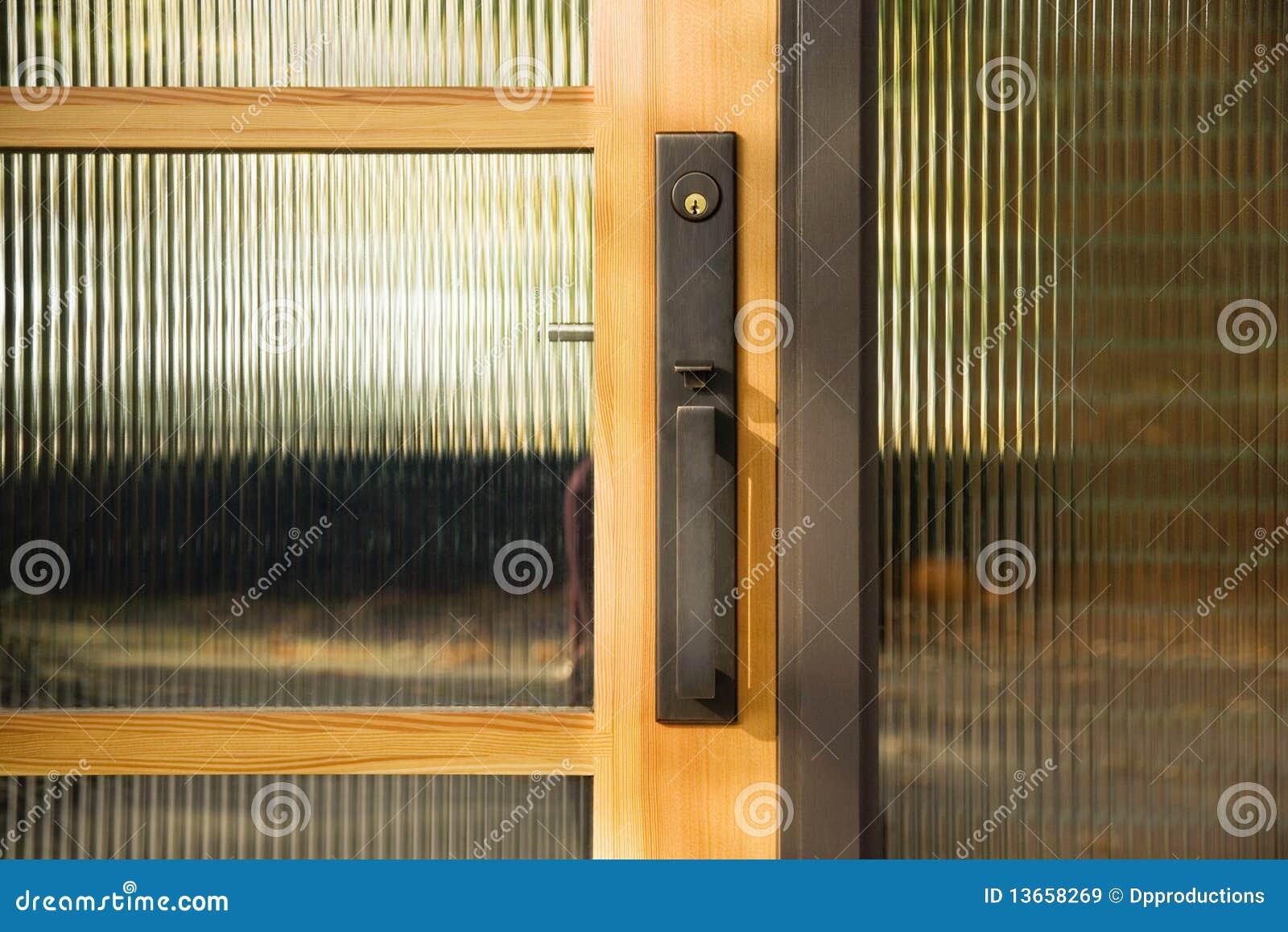 Door Handle On Textured Glass Door