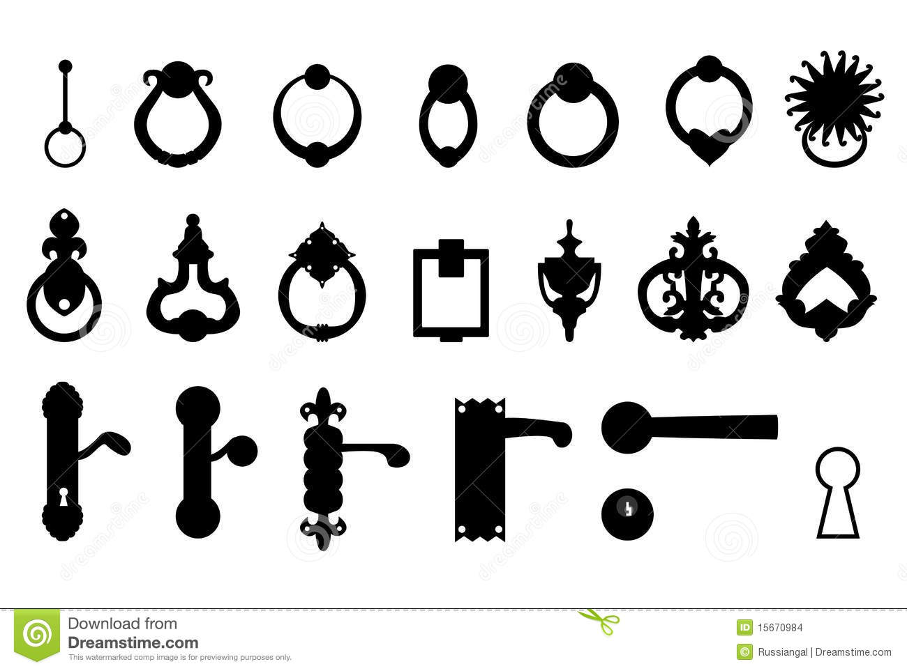 Door Handles Knockers Stock Vector Image Of Design
