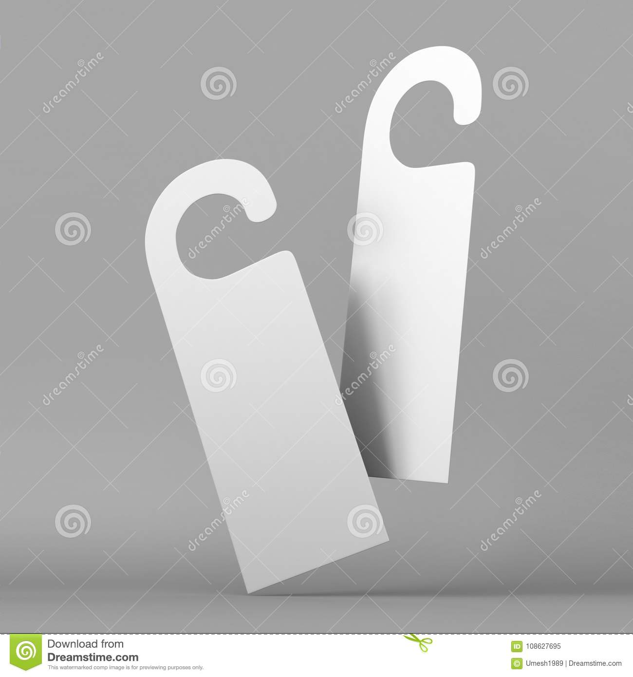 Door Hanger White Tags For Room In Hotel, Resort, Home Isolated On ...