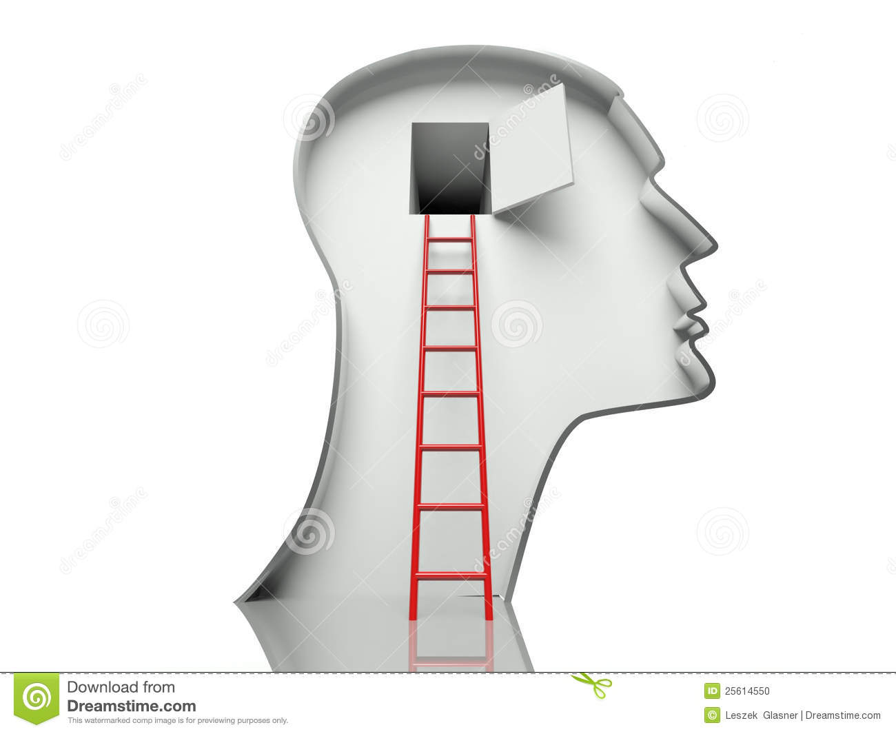 Door In Head And Ladder Concept Of Open Mind Royalty Free