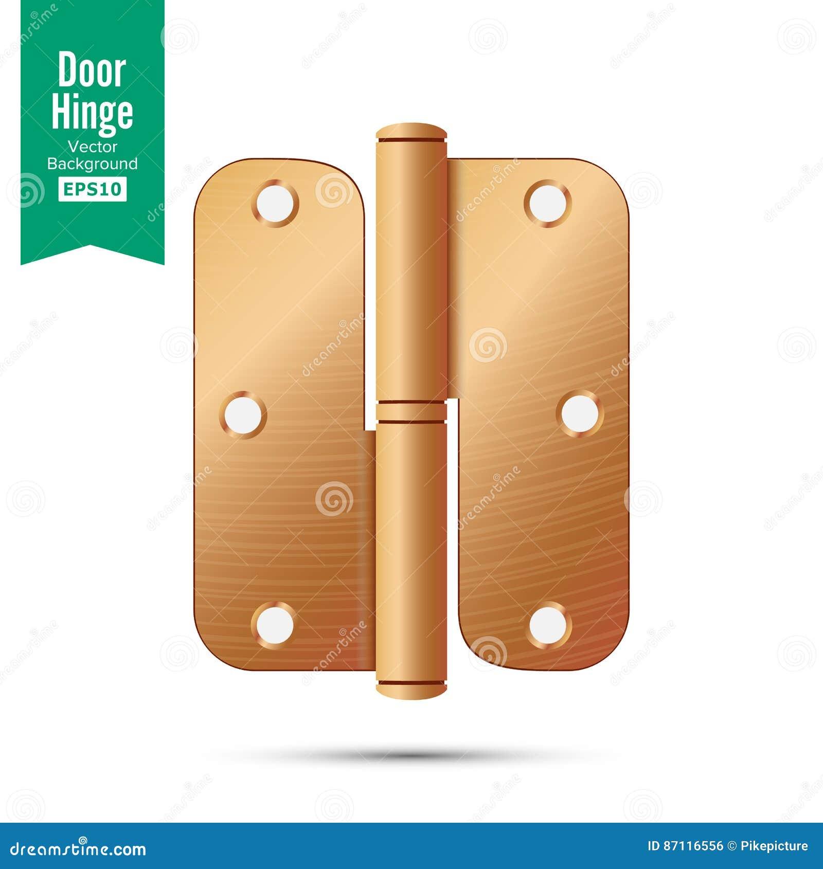 Door Hinge Vector Classic And Industrial Ironmongery Isolated On