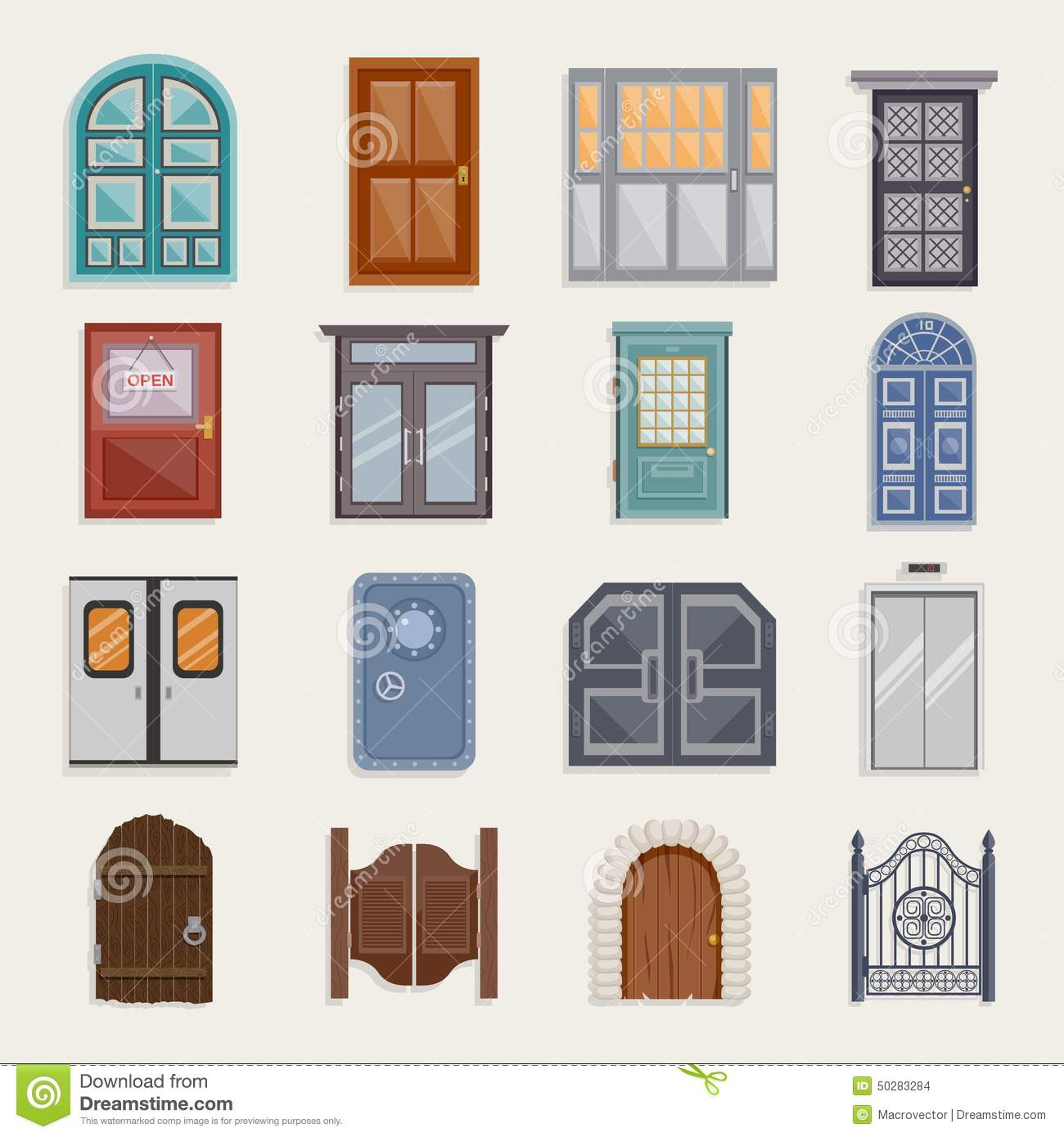 Door Icons Flat Stock Vector Illustration Of
