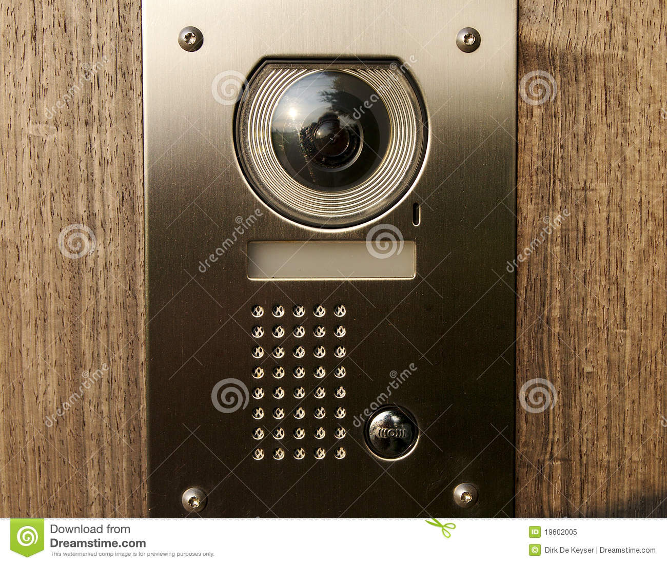 Front Door Intercoms: Door Intercom On Wood Royalty Free Stock Photo