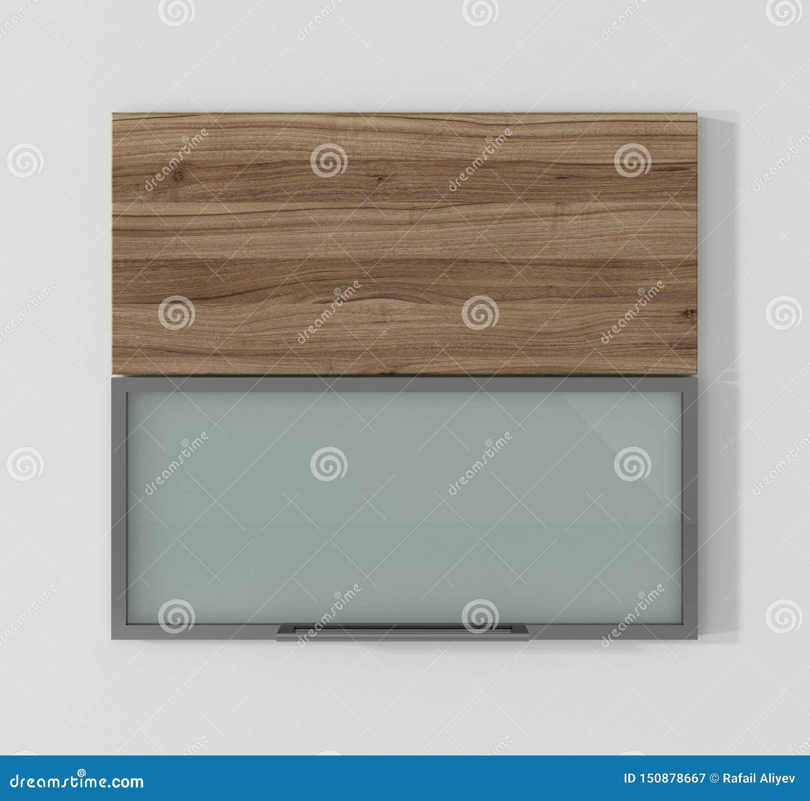 Door For Kitchen Cabinets Walnut And Aluminum 3d Rendering